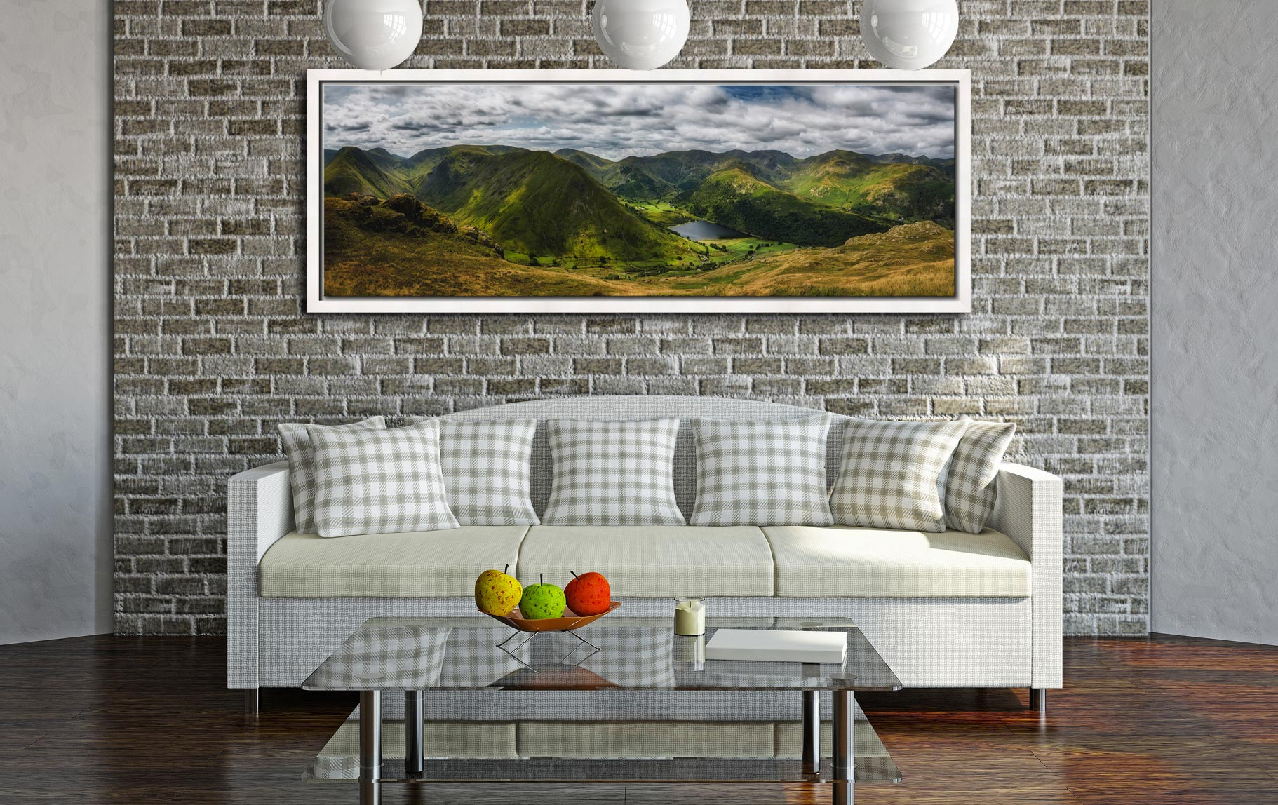 Panoramic view from near Satura Crag looking towards Hartsop Dodd and Brothers Water in Cumbria - White Maple floater frame with acrylic glazing on Wall
