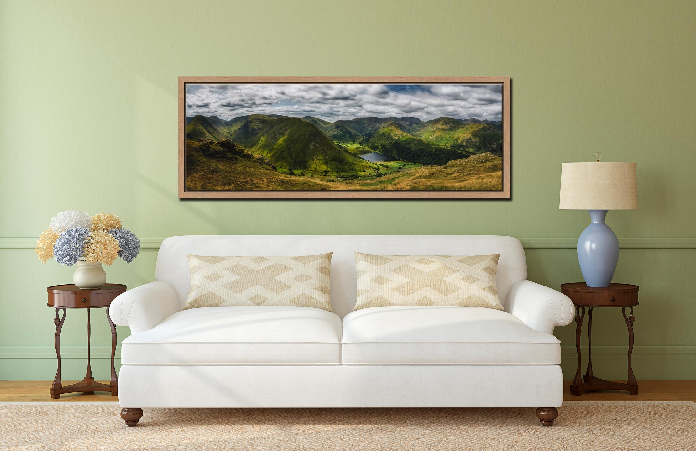 Panoramic view from near Satura Crag looking towards Hartsop Dodd and Brothers Water in Cumbria - Oak floater frame with acrylic glazing on Wall