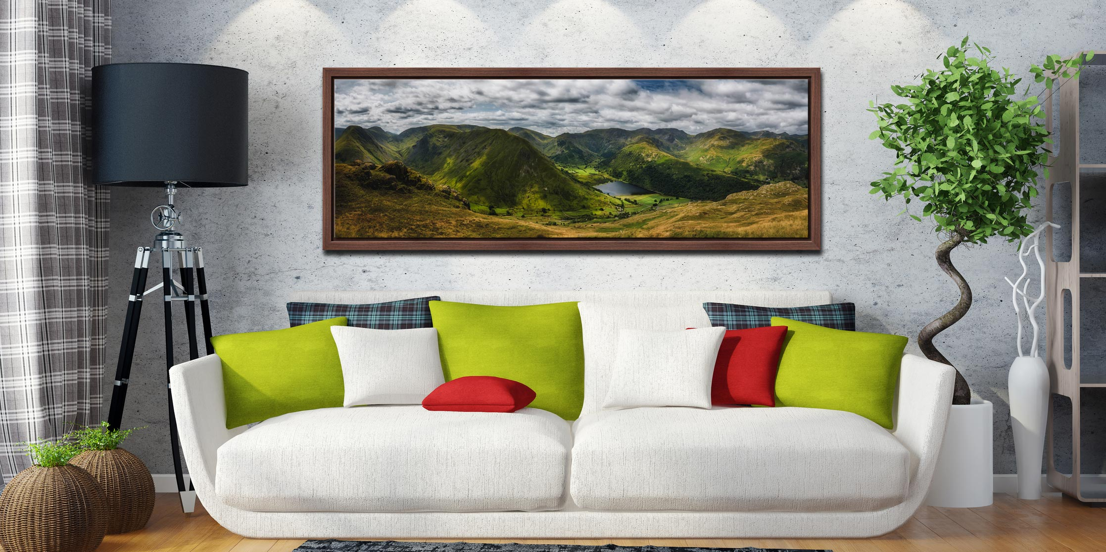 Panoramic view from near Satura Crag looking towards Hartsop Dodd and Brothers Water in Cumbria - Walnut floater frame with acrylic glazing on Wall