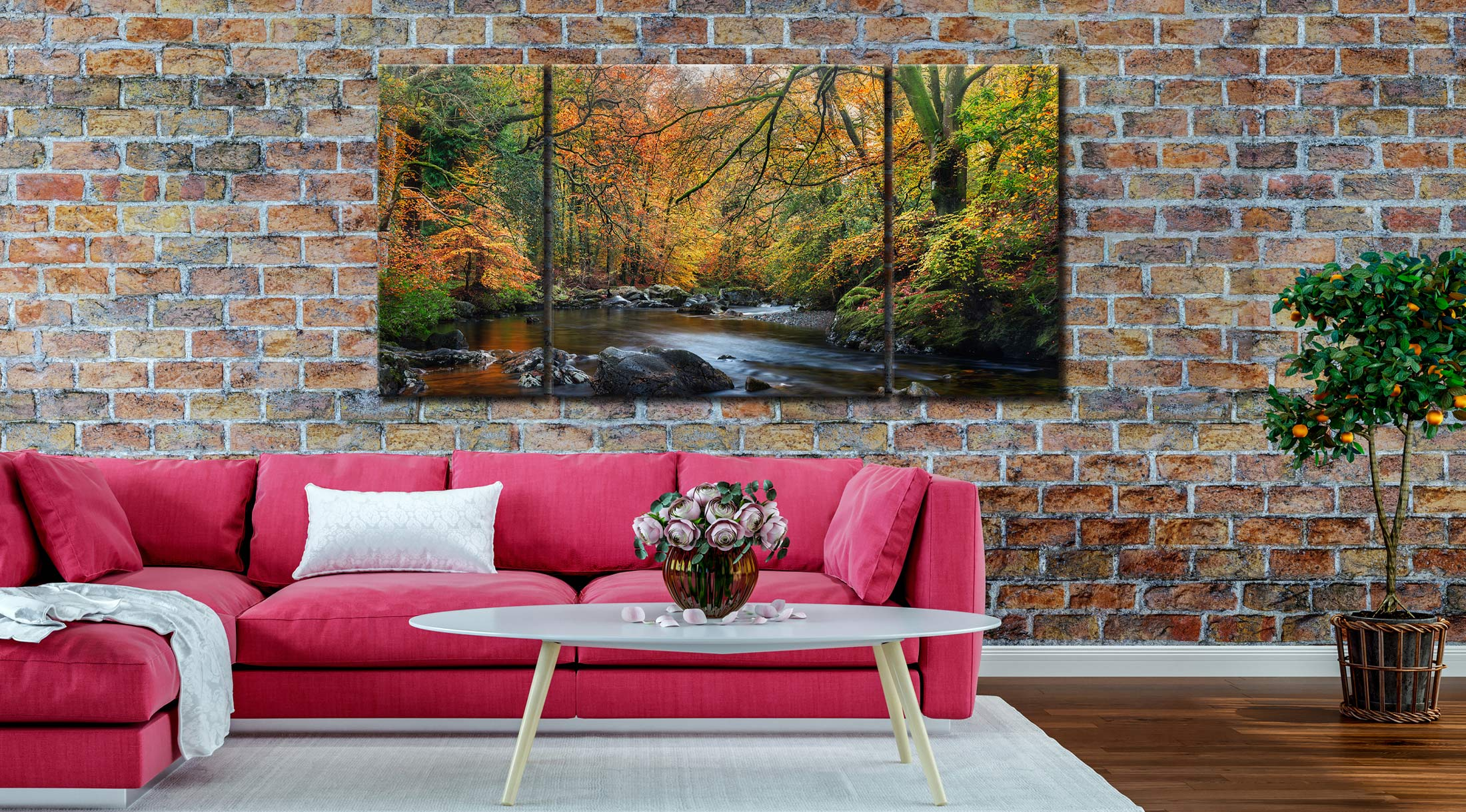 Golden Trees of Eskdale - 3 Panel Wide Centre Canvas on Wall
