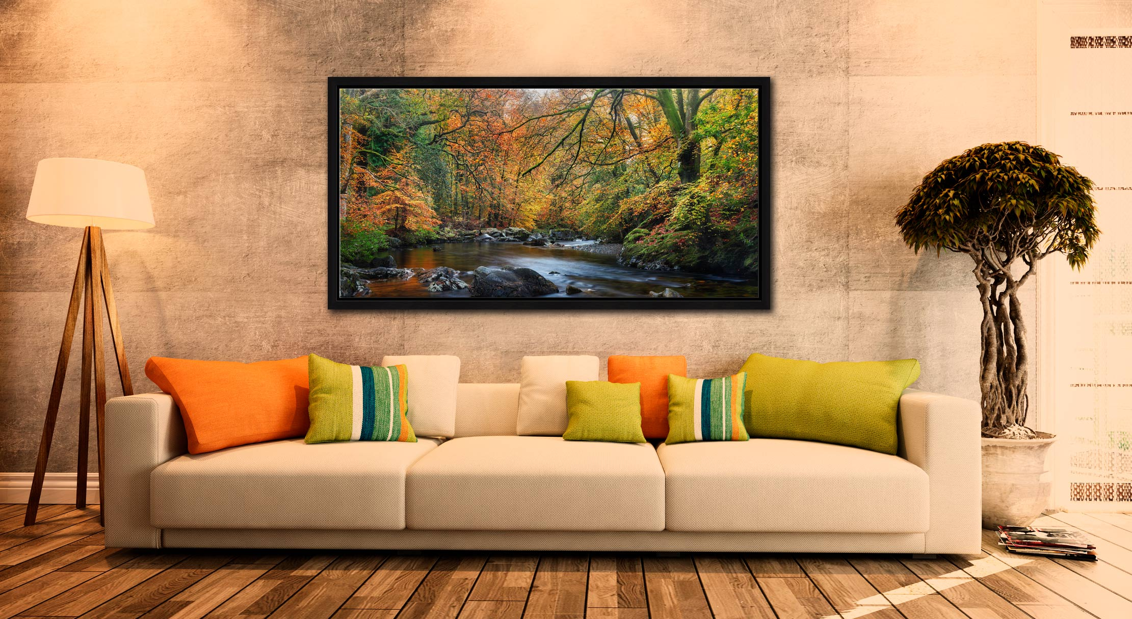 Golden Trees of Eskdale - Black oak floater frame with acrylic glazing on Wall