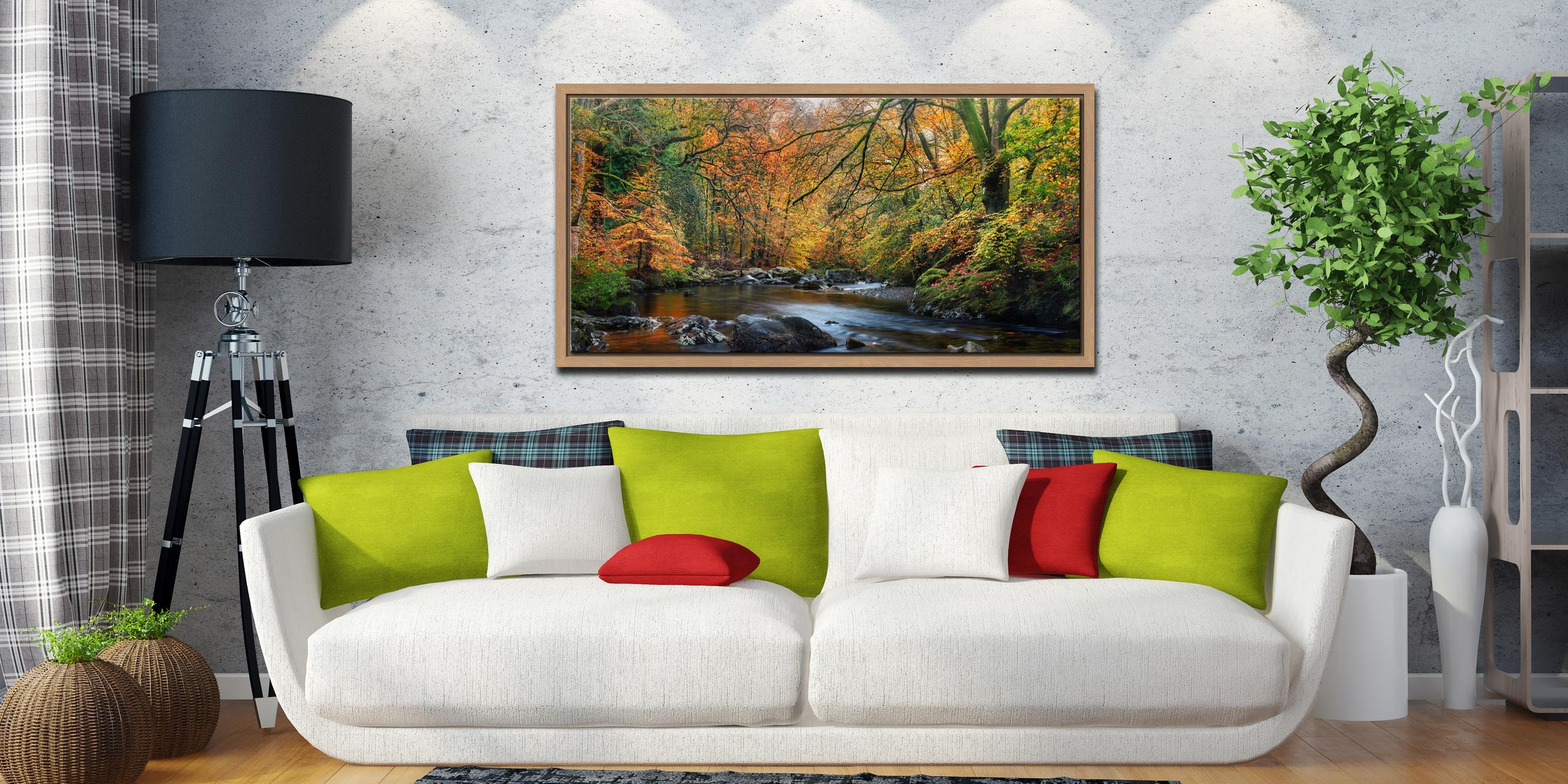 Golden Trees of Eskdale - Oak floater frame with acrylic glazing on Wall