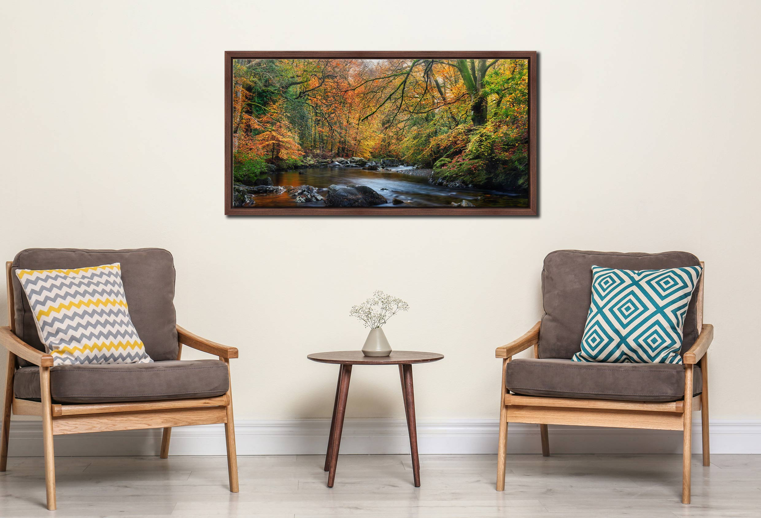 Golden Trees of Eskdale - Walnut floater frame with acrylic glazing on Wall