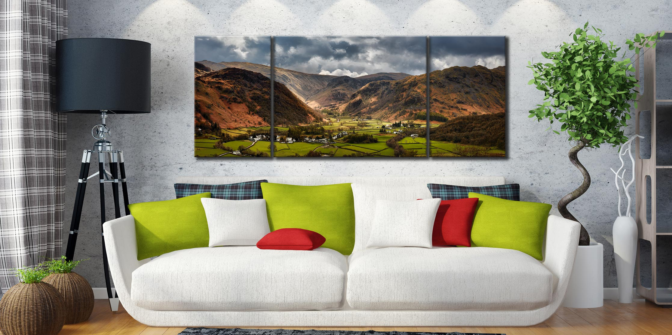 Borrowdale Pastures - 3 Panel Wide Mid Canvas on Wall