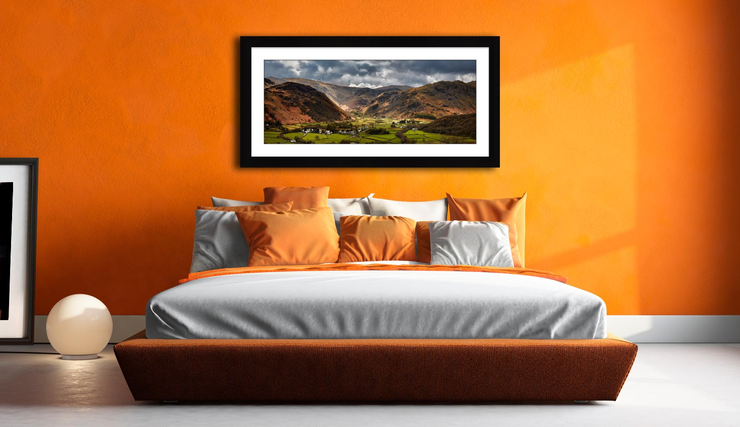 Borrowdale Pastures - Framed Print with Mount on Wall