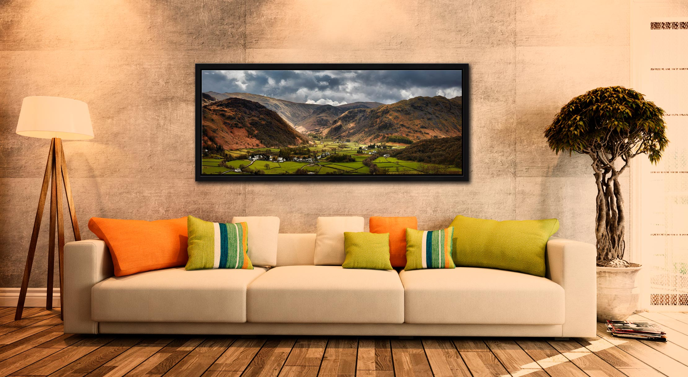 Sunny intervals over Rosthwaite in the beautiful Borrowdale Valley - Black oak floater frame with acrylic glazing on Wall