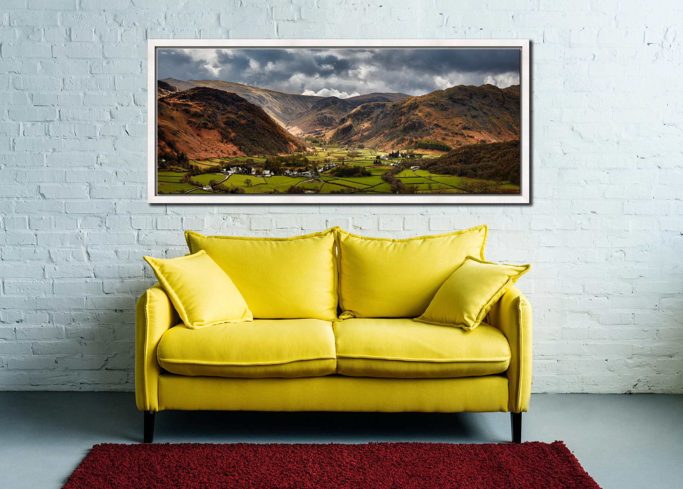 Sunny intervals over Rosthwaite in the beautiful Borrowdale Valley - White Maple floater frame with acrylic glazing on Wall