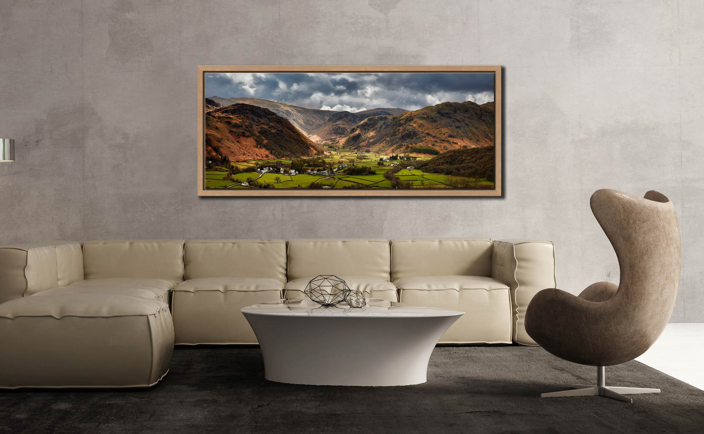 Sunny intervals over Rosthwaite in the beautiful Borrowdale Valley - Oak floater frame with acrylic glazing on Wall
