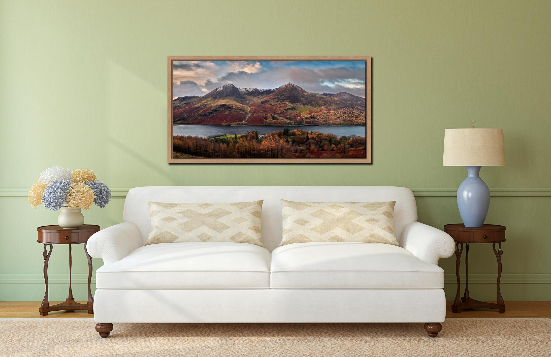 High Stile High Crag in Autumn - Oak floater frame with acrylic glazing on Wall