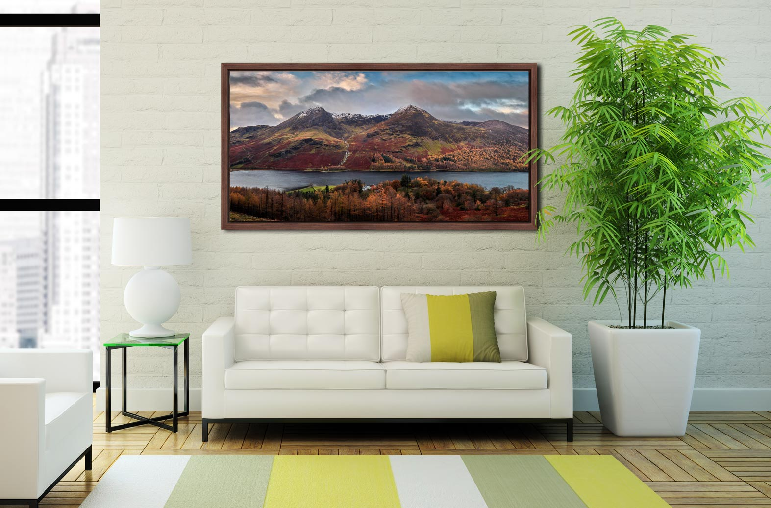 High Stile High Crag in Autumn - Walnut floater frame with acrylic glazing on Wall