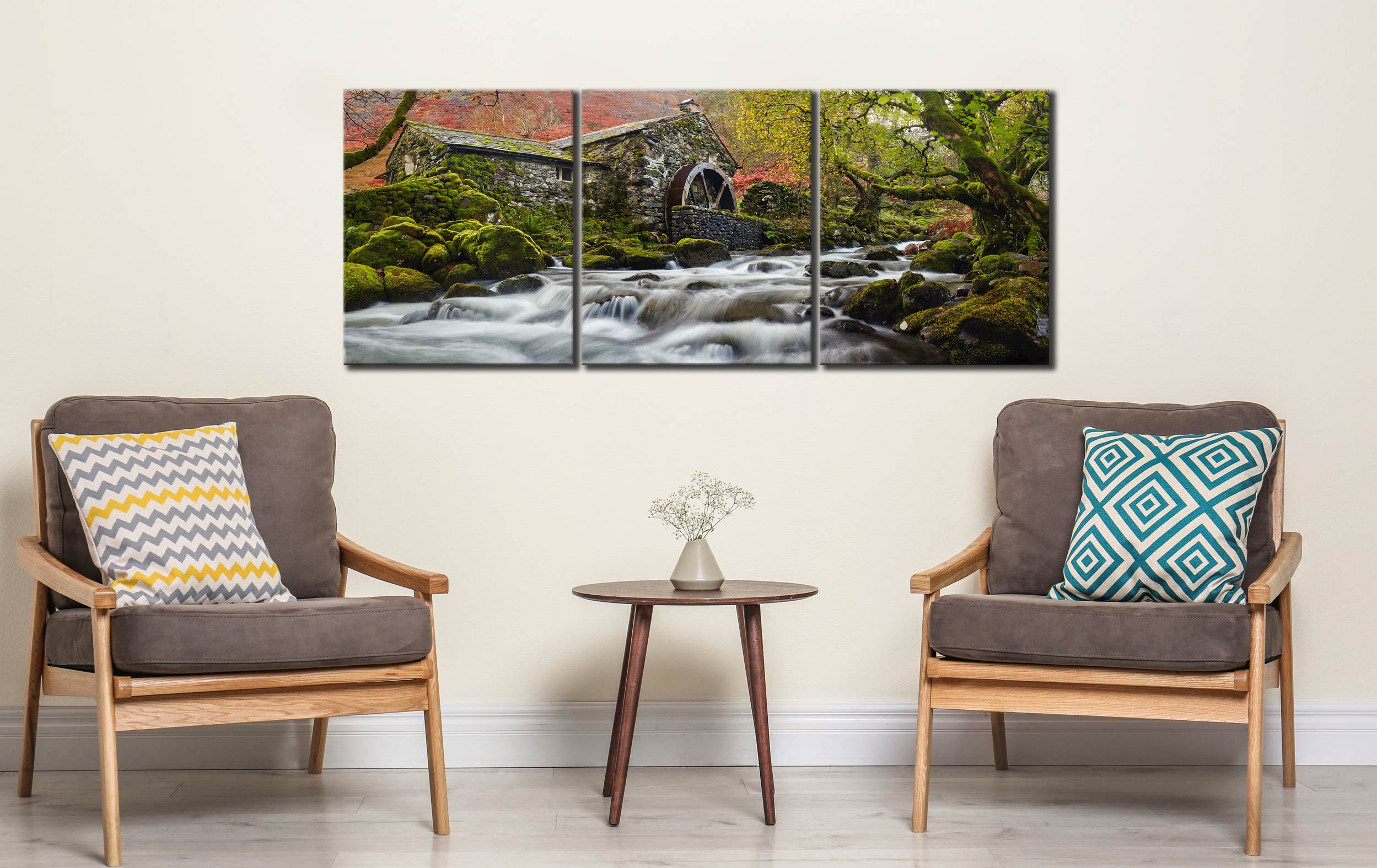 Borrowdale Mill Panorama - 3 Panel Canvas on Wall