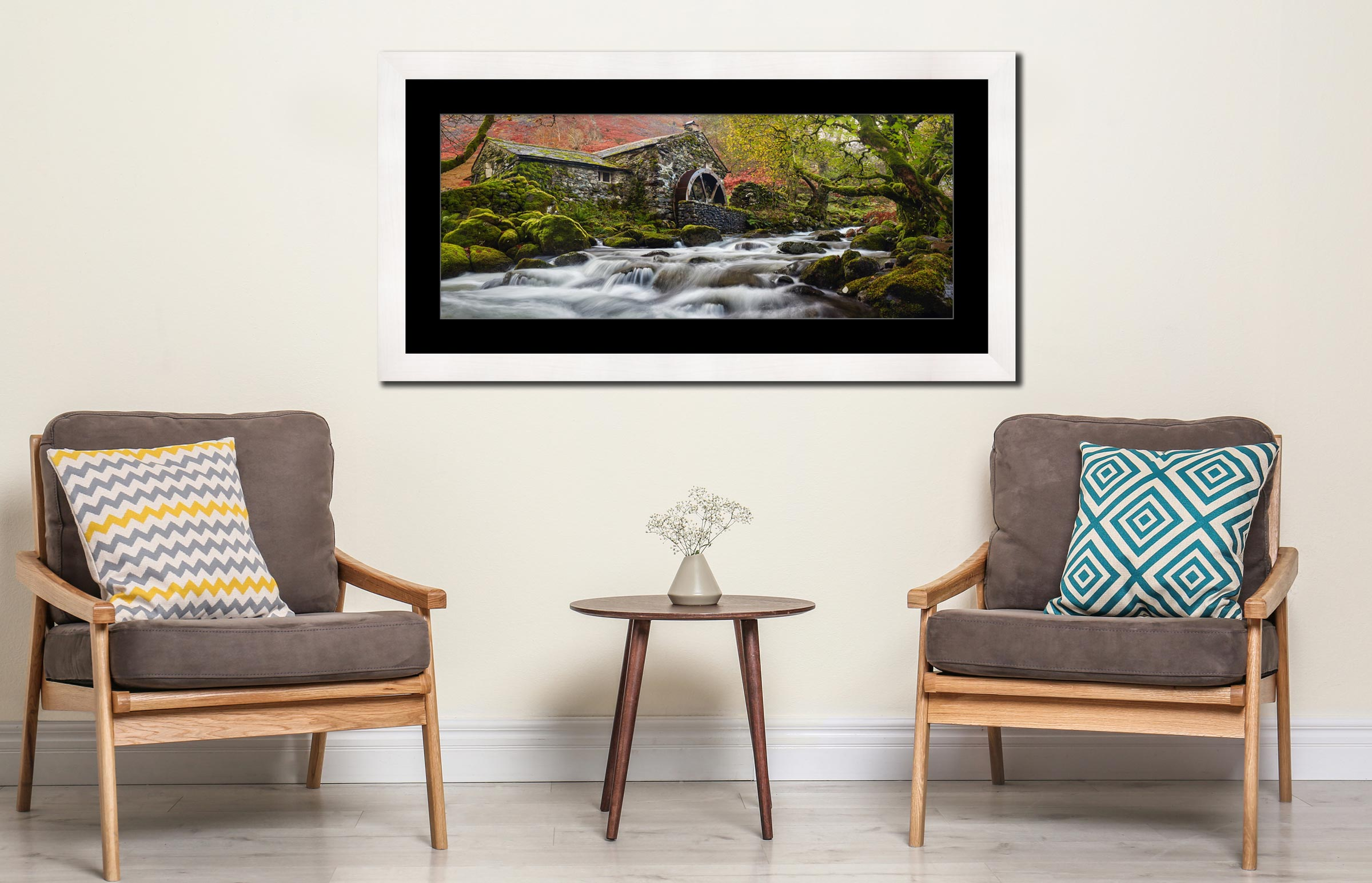 Borrowdale Mill Panorama - Framed Print with Mount on Wall