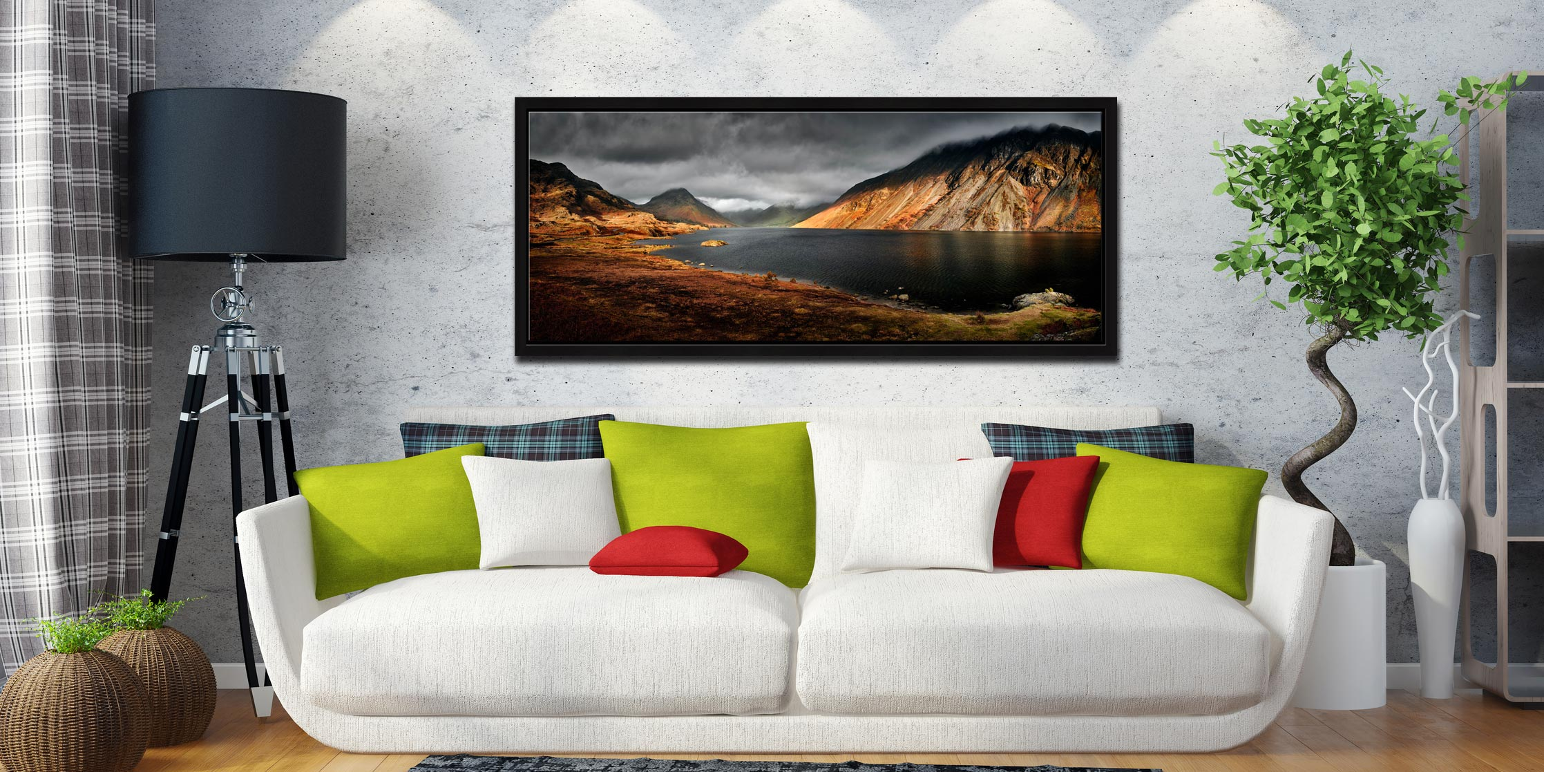 Autumn sunshine on Skiddaw and Derwent Water - Black oak floater frame with acrylic glazing on Wall