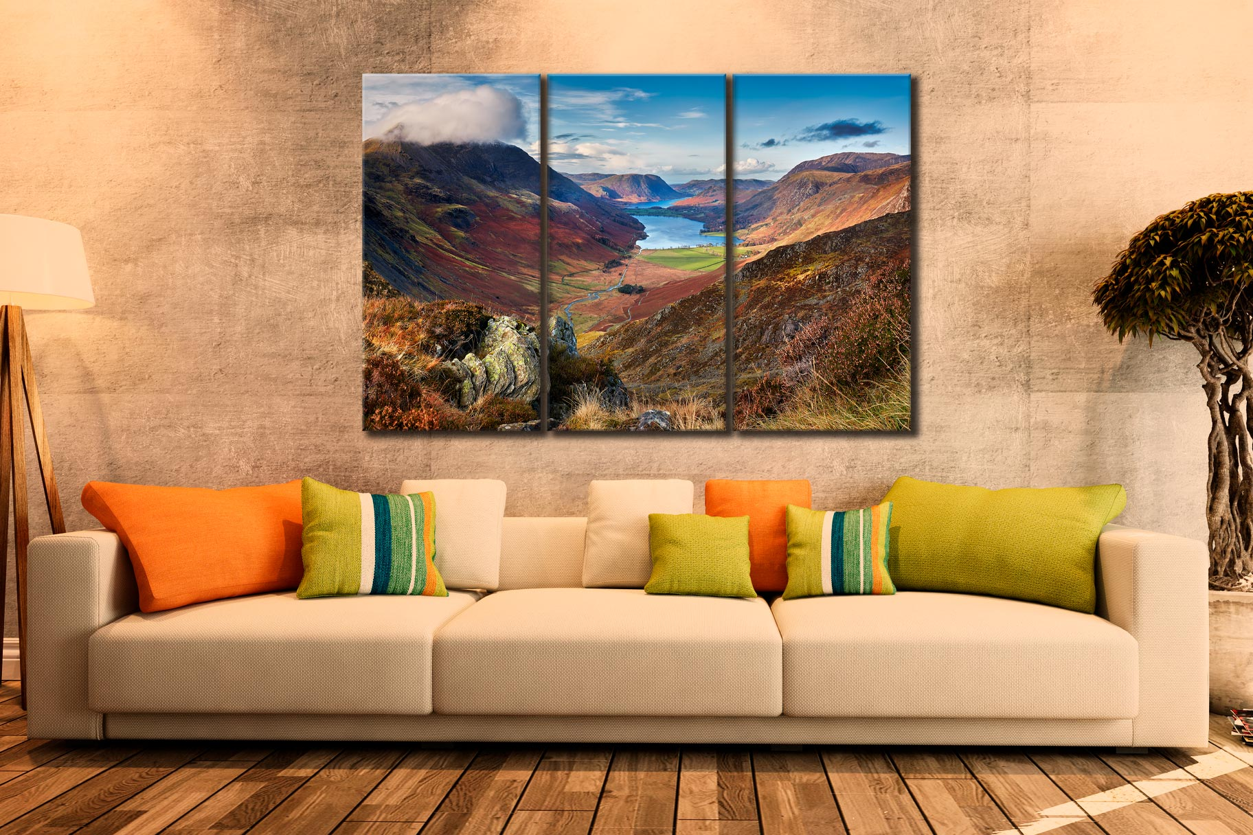 Buttermere Valley from Hay Stacks - 3 Panel Canvas on Wall