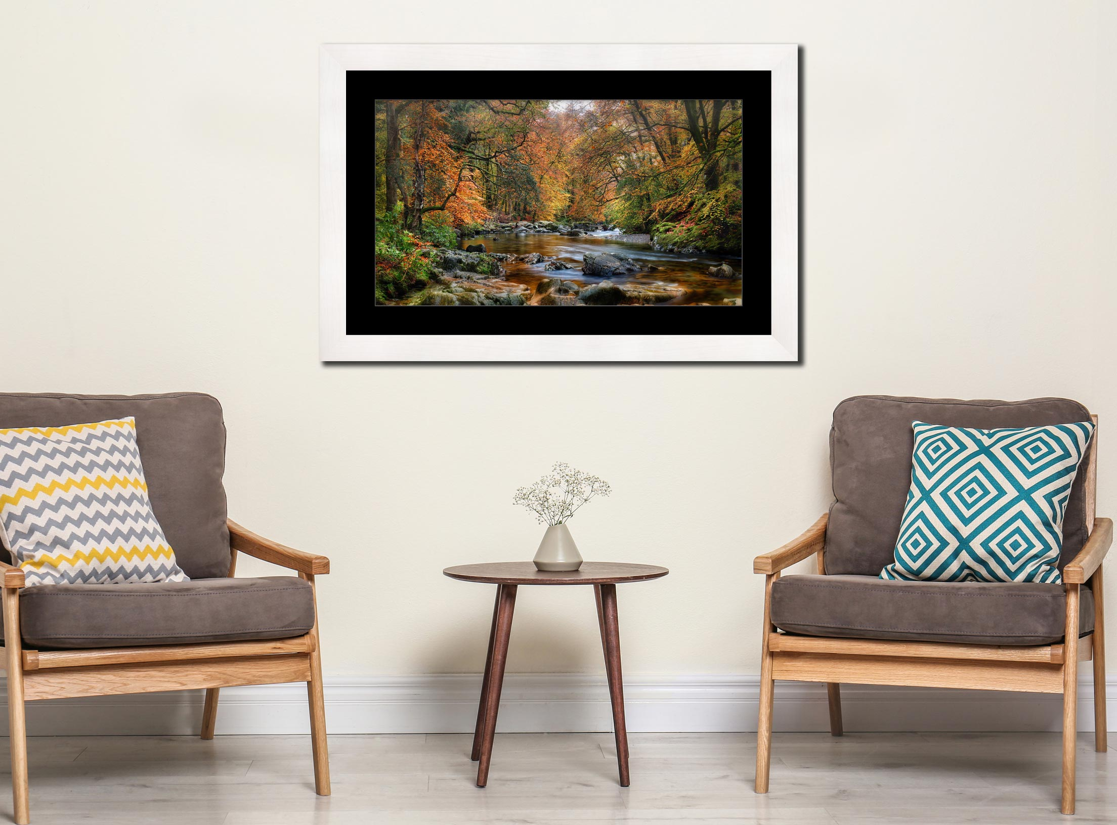 River Esk in Autumn - Framed Print with Mount on Wall