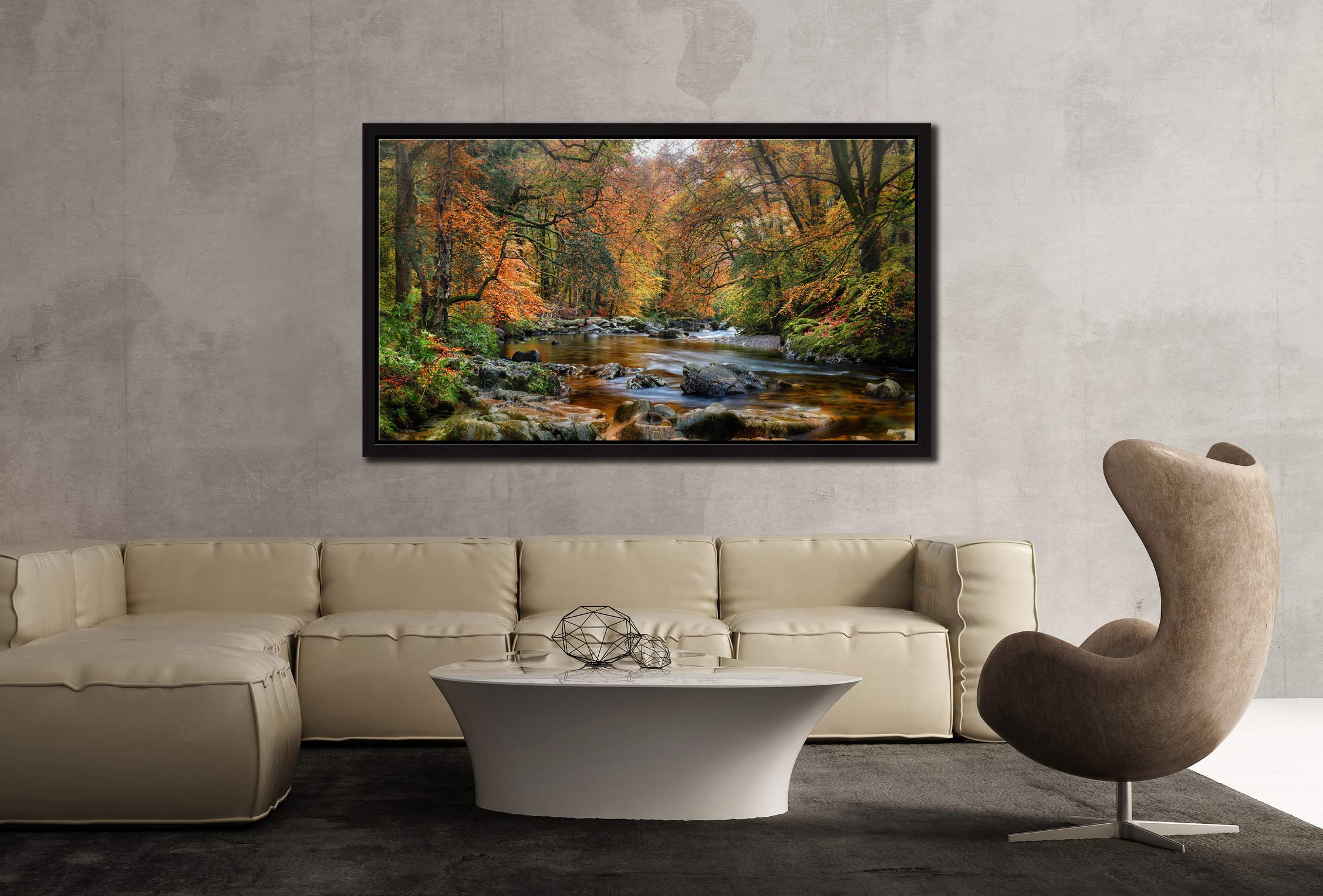 River Esk in Autumn - Black oak floater frame with acrylic glazing on Wall