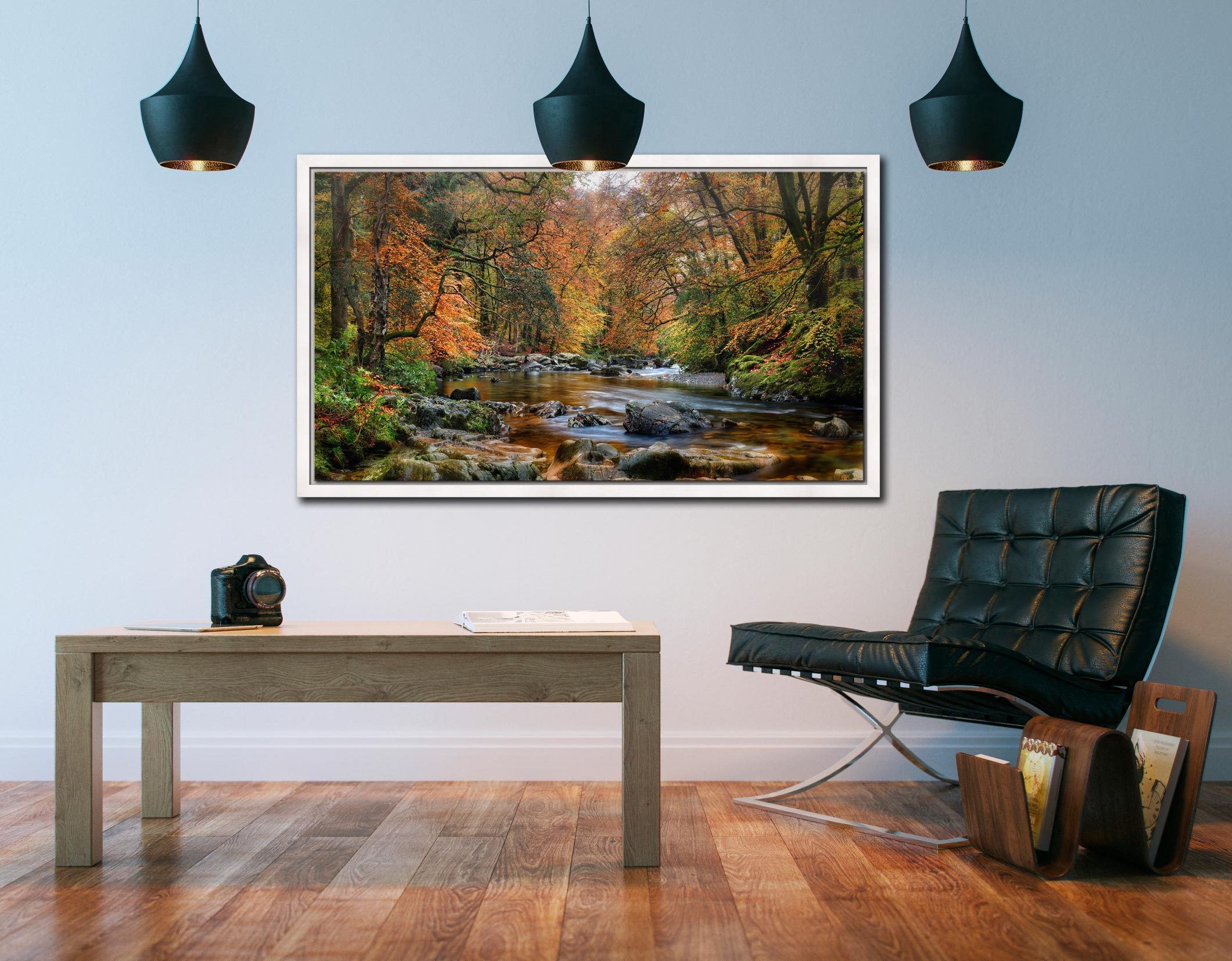 River Esk in Autumn - White Maple floater frame with acrylic glazing on Wall