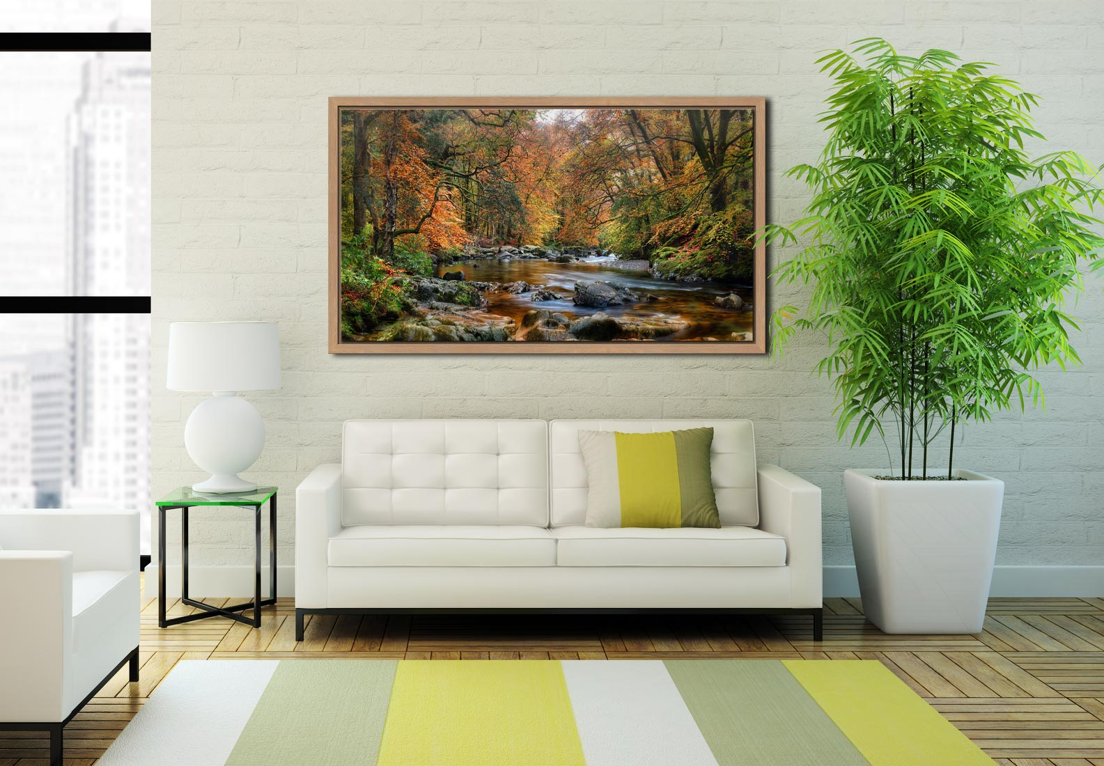 River Esk in Autumn - Oak floater frame with acrylic glazing on Wall