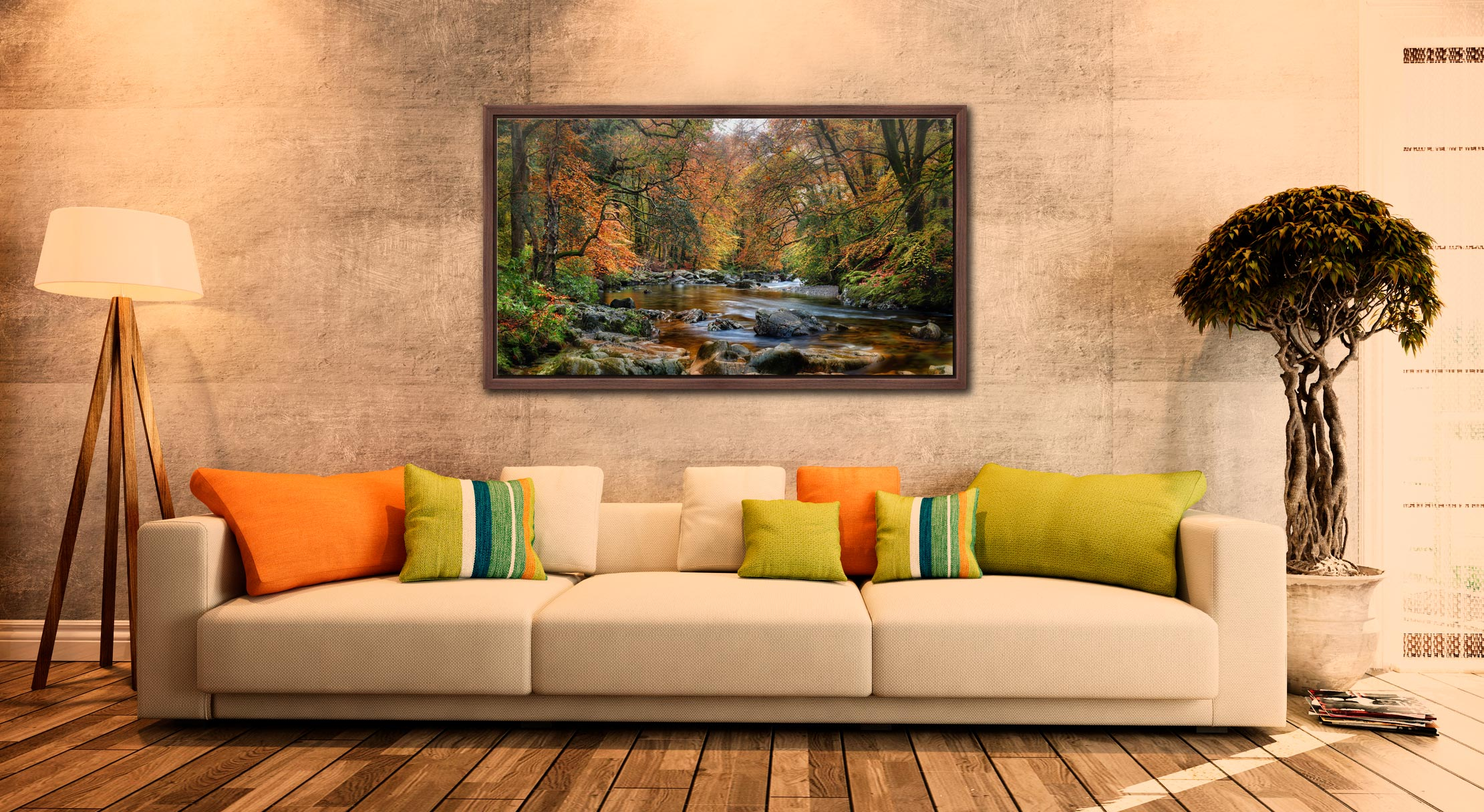 River Esk in Autumn - Walnut floater frame with acrylic glazing on Wall