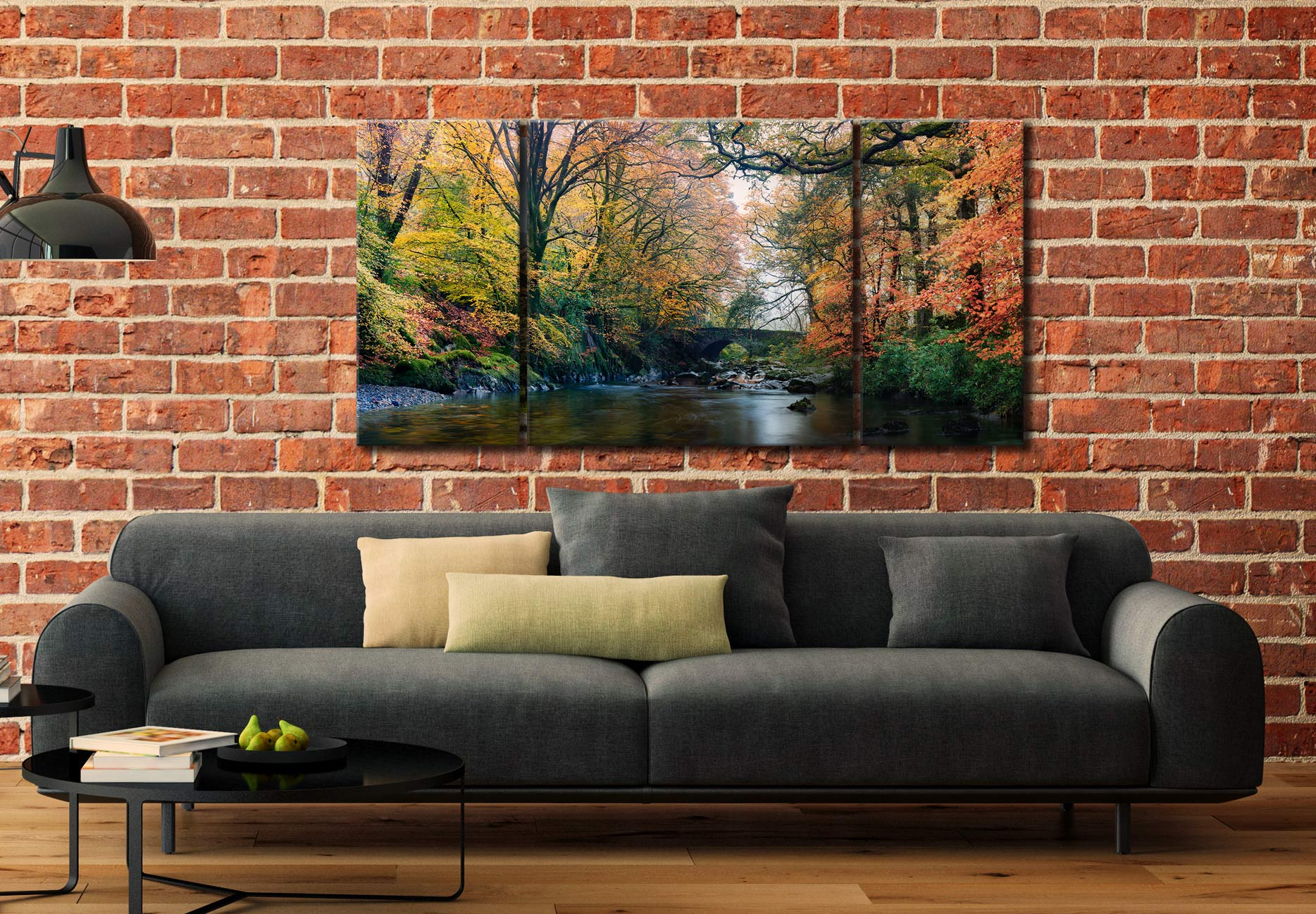 River Esk Bridge in Autumn - 3 Panel Wide Centre Canvas on Wall