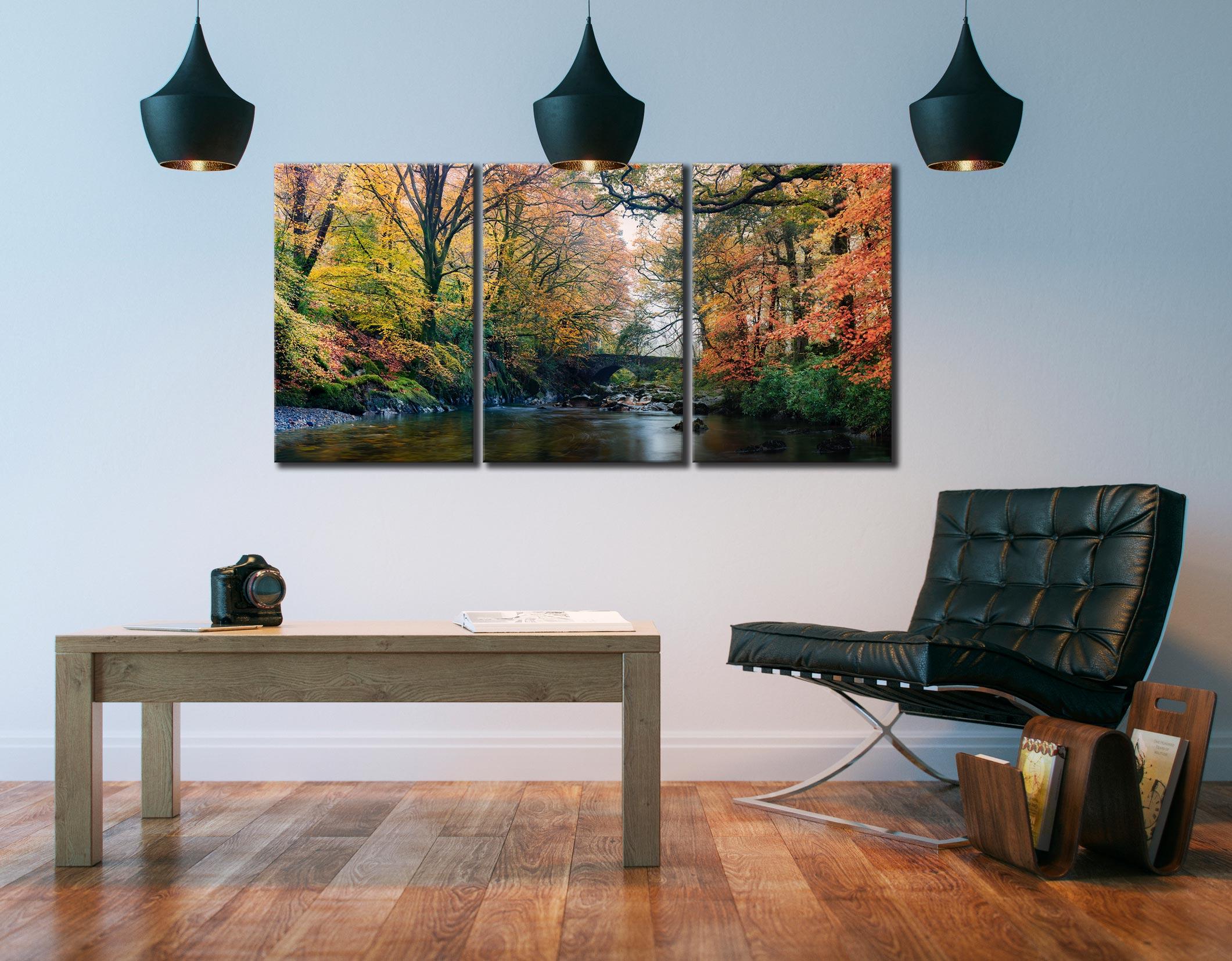 River Esk Bridge in Autumn - 3 Panel Canvas on Wall