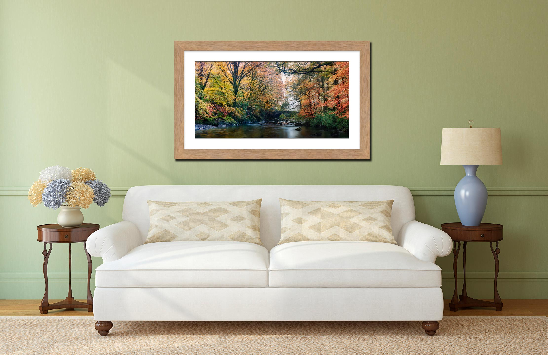 River Esk Bridge in Autumn - Framed Print with Mount on Wall