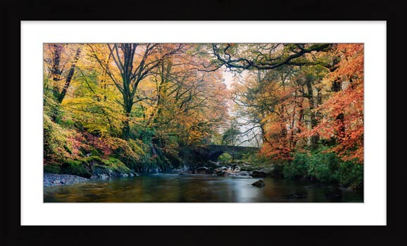 River Esk Bridge in Autumn - Framed Print with Mount