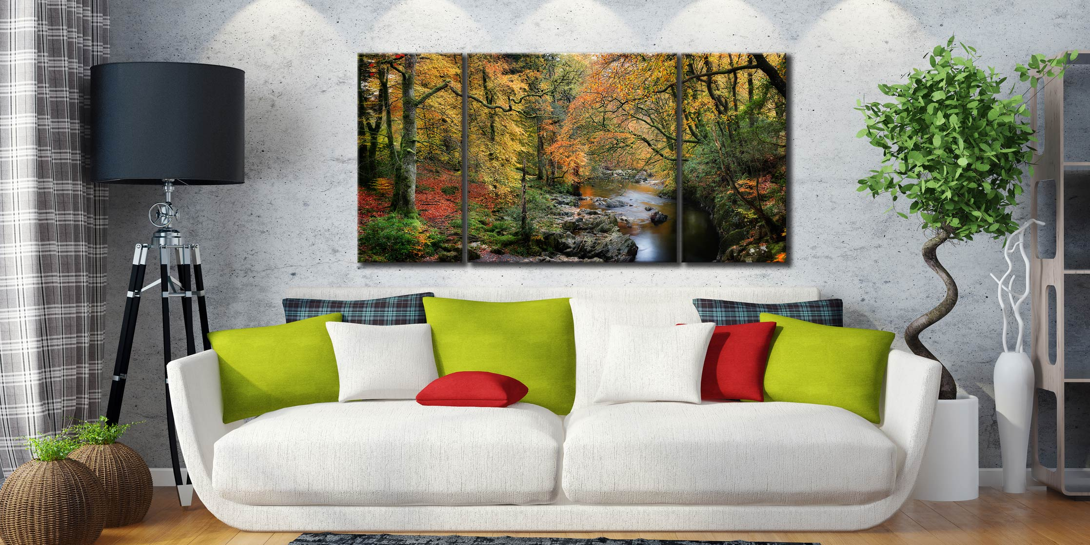 Autumn Woodlands of Eskdale - 3 Panel Wide Centre Canvas on Wall