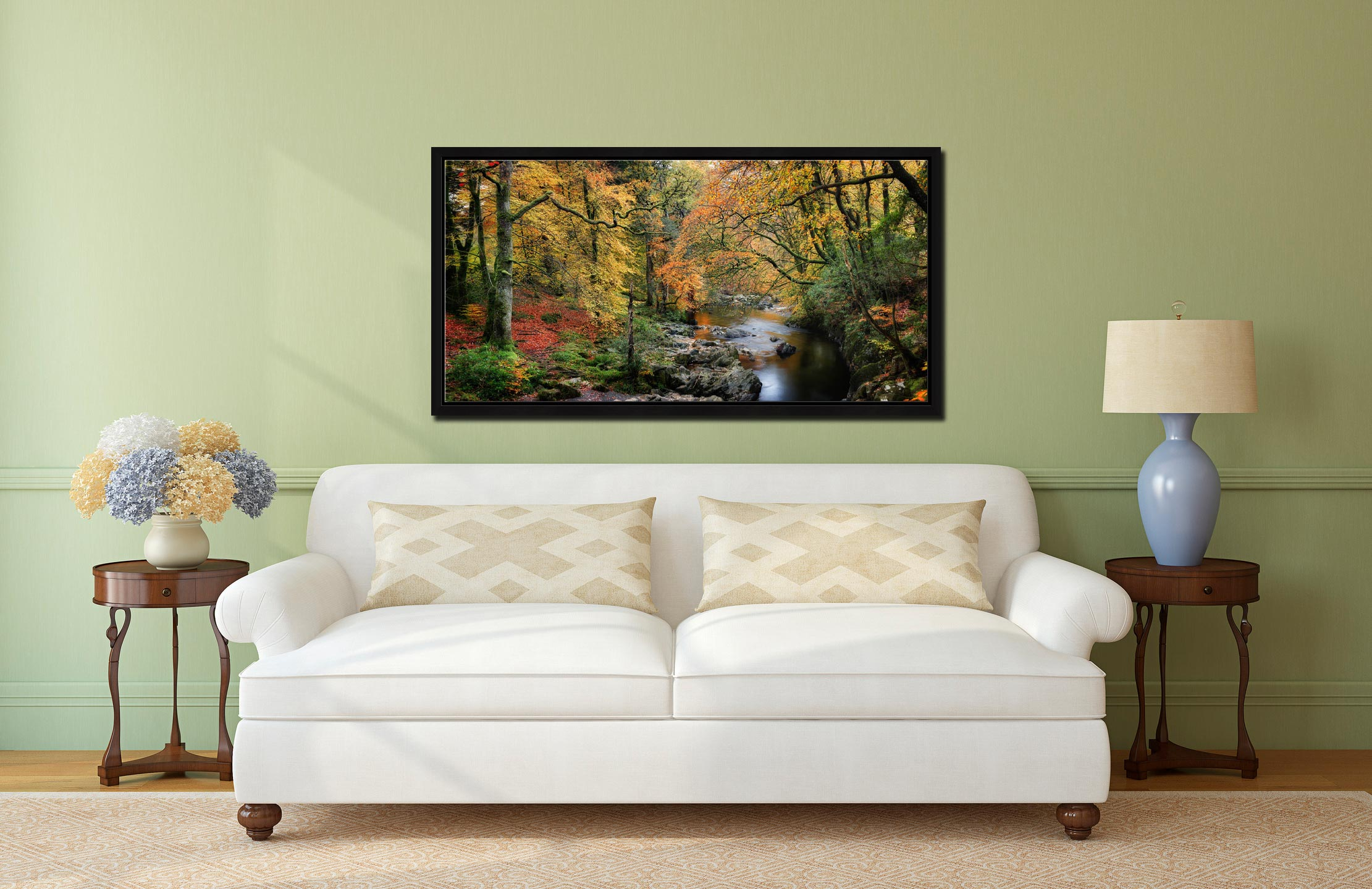 Autumn Woodlands of Eskdale - Black oak floater frame with acrylic glazing on Wall