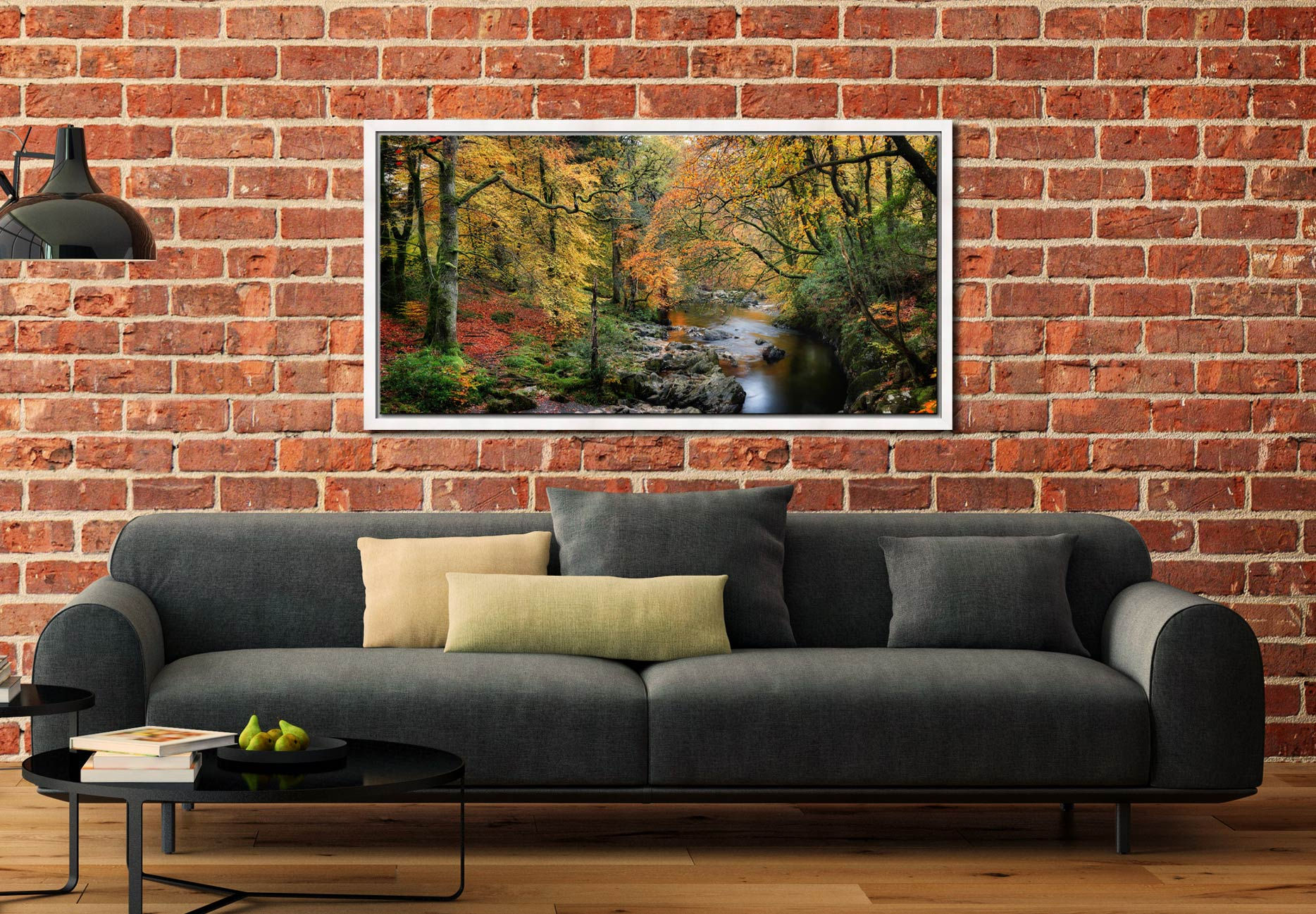 Autumn Woodlands of Eskdale - White Maple floater frame with acrylic glazing on Wall