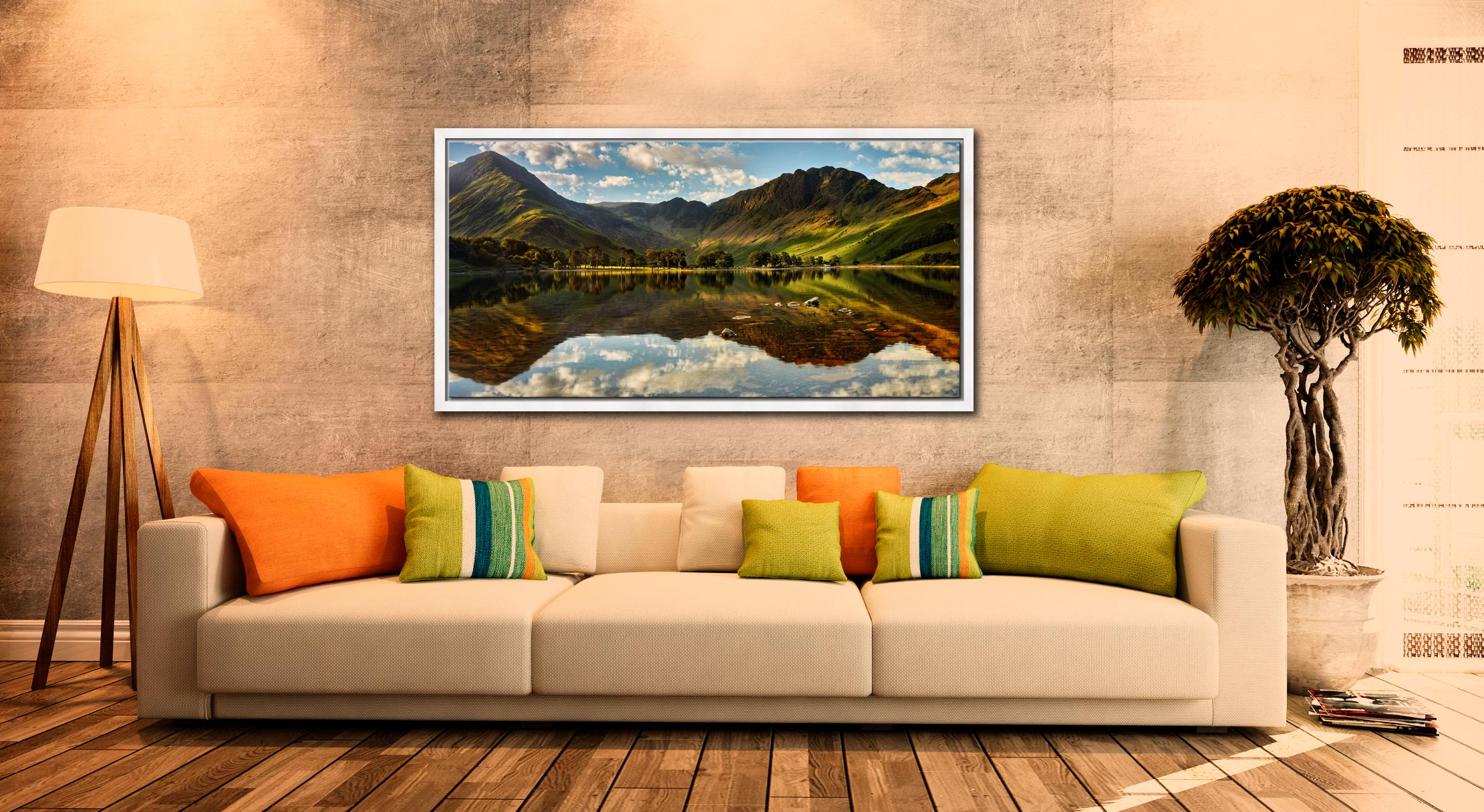 The Greens of Buttermere - White Maple floater frame with acrylic glazing on Wall