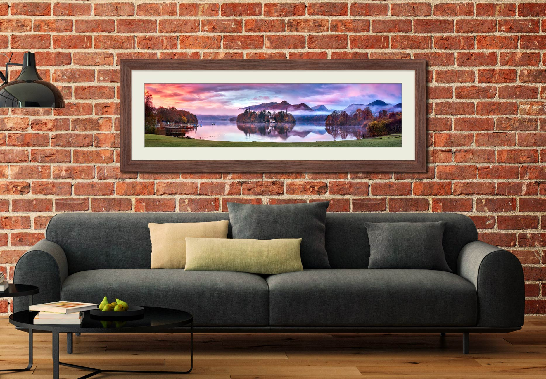 Derwent Water Sunrise - Framed Print with Mount on Wall