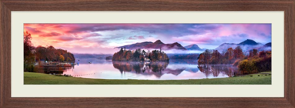Derwent Water Sunrise - Framed Print with Mount