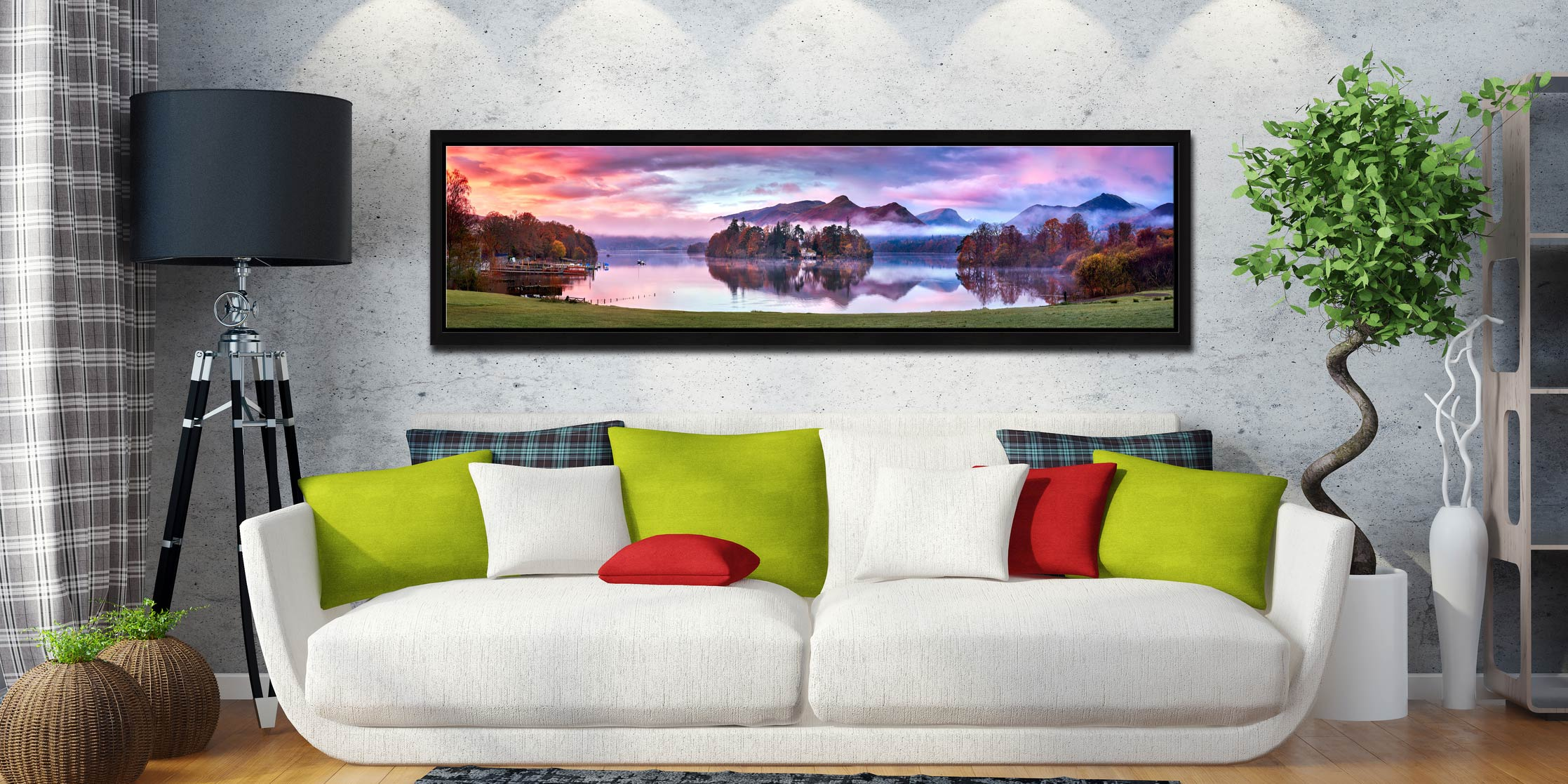 Derwent Water Sunrise - Black oak floater frame with acrylic glazing on Wall