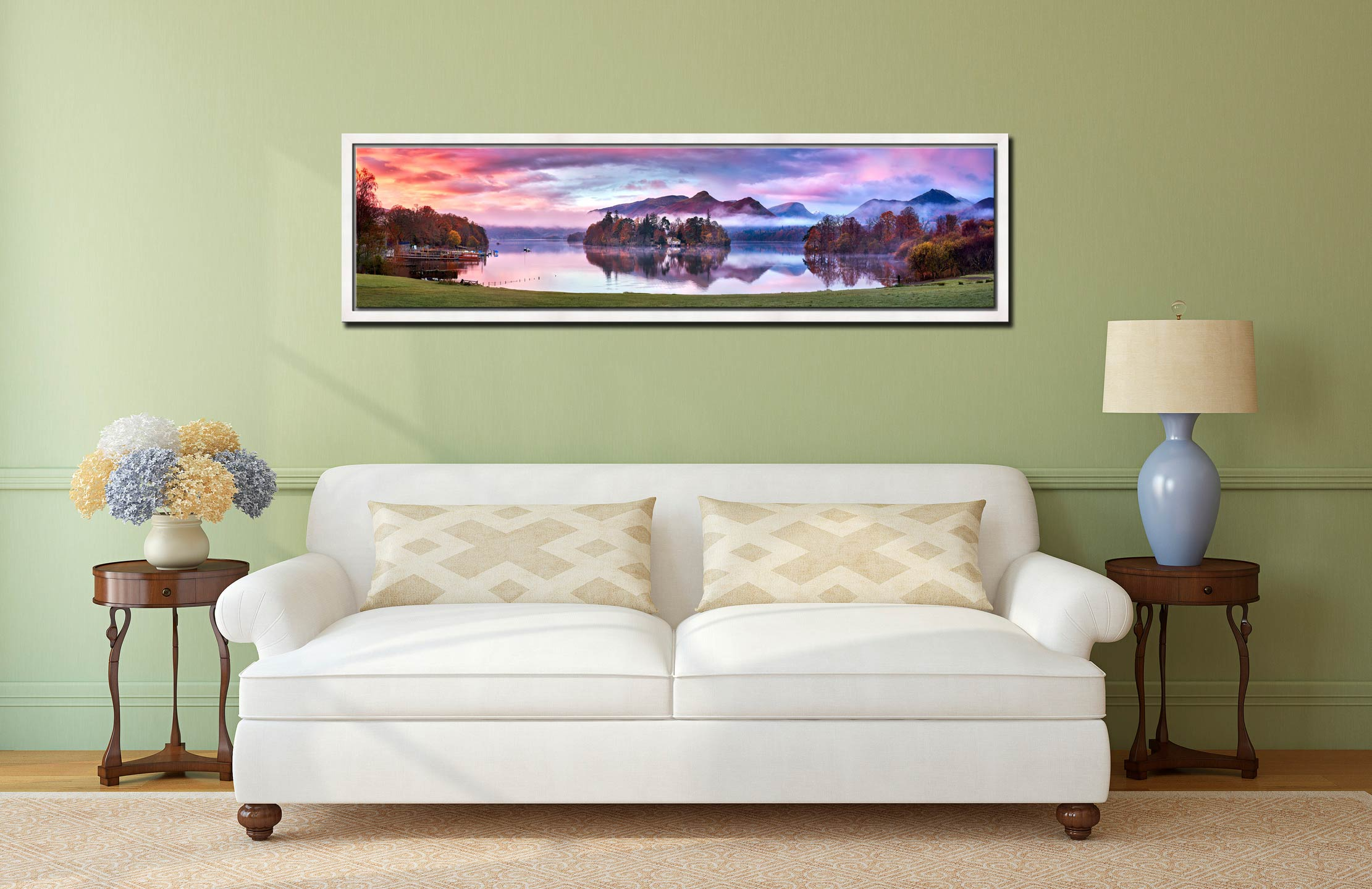 Derwent Water Sunrise - White Maple floater frame with acrylic glazing on Wall