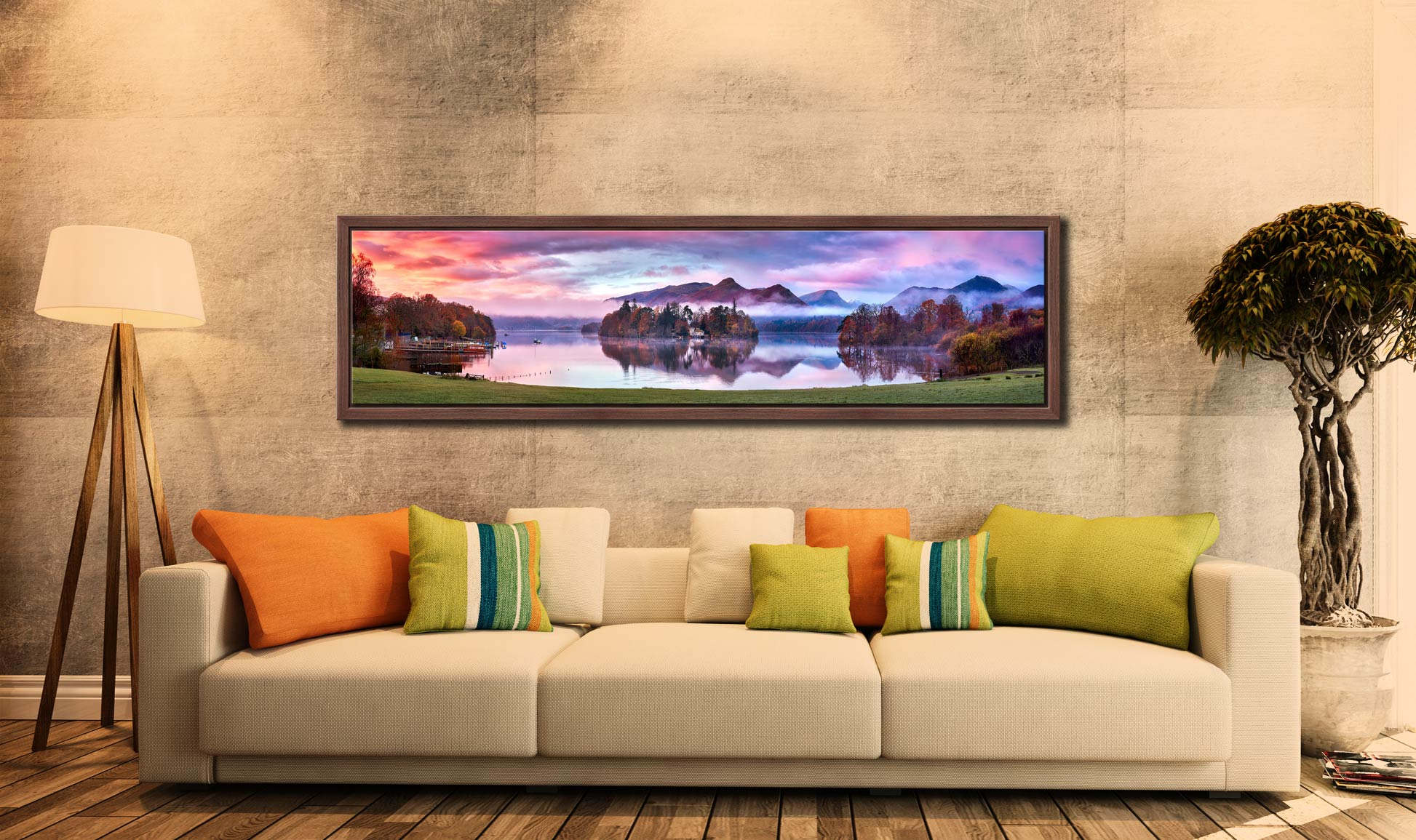 Derwent Water Sunrise - Walnut floater frame with acrylic glazing on Wall