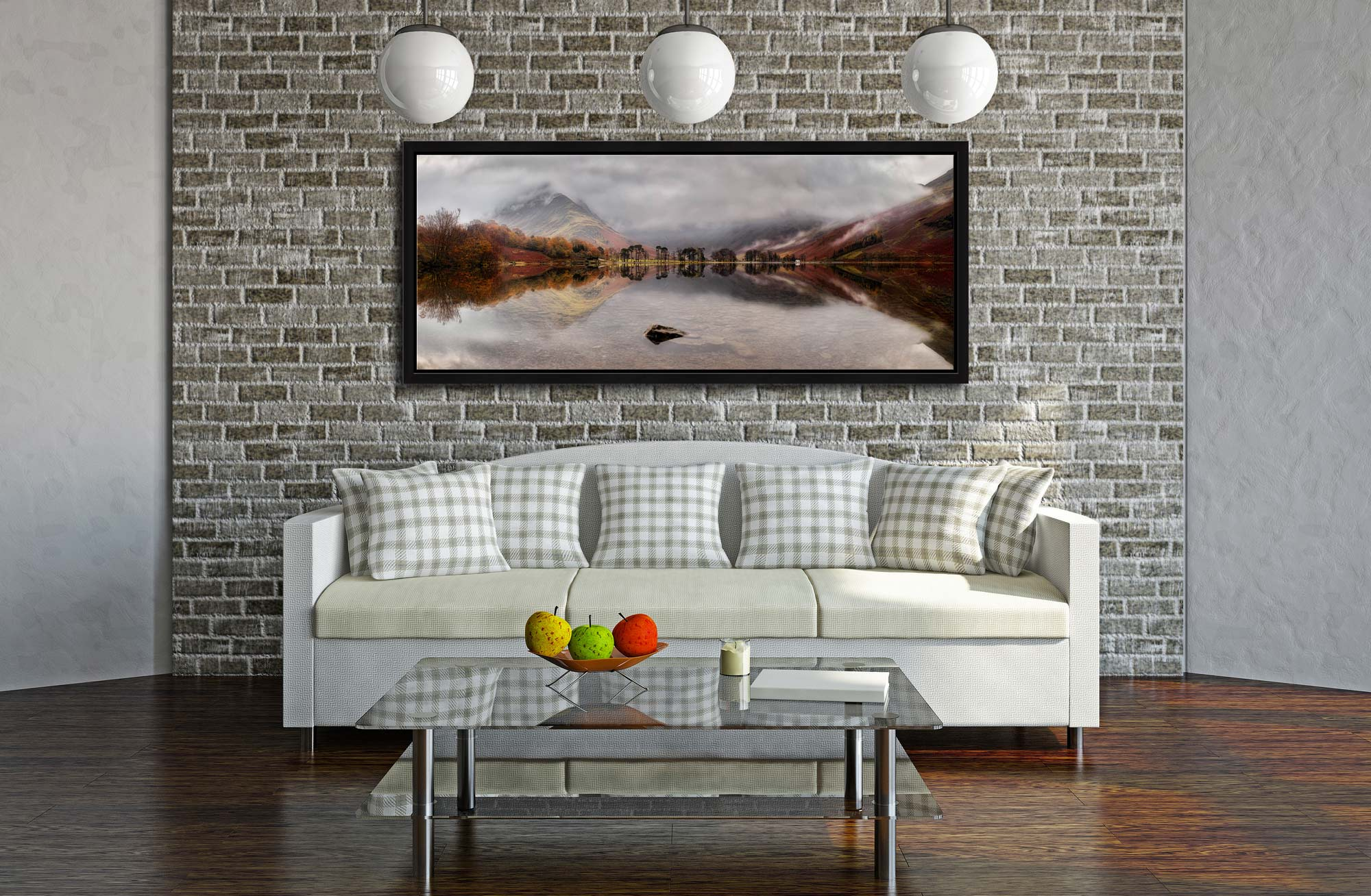 A moment of calm on a rainy day at Buttermere - Black oak floater frame with acrylic glazing on Wall