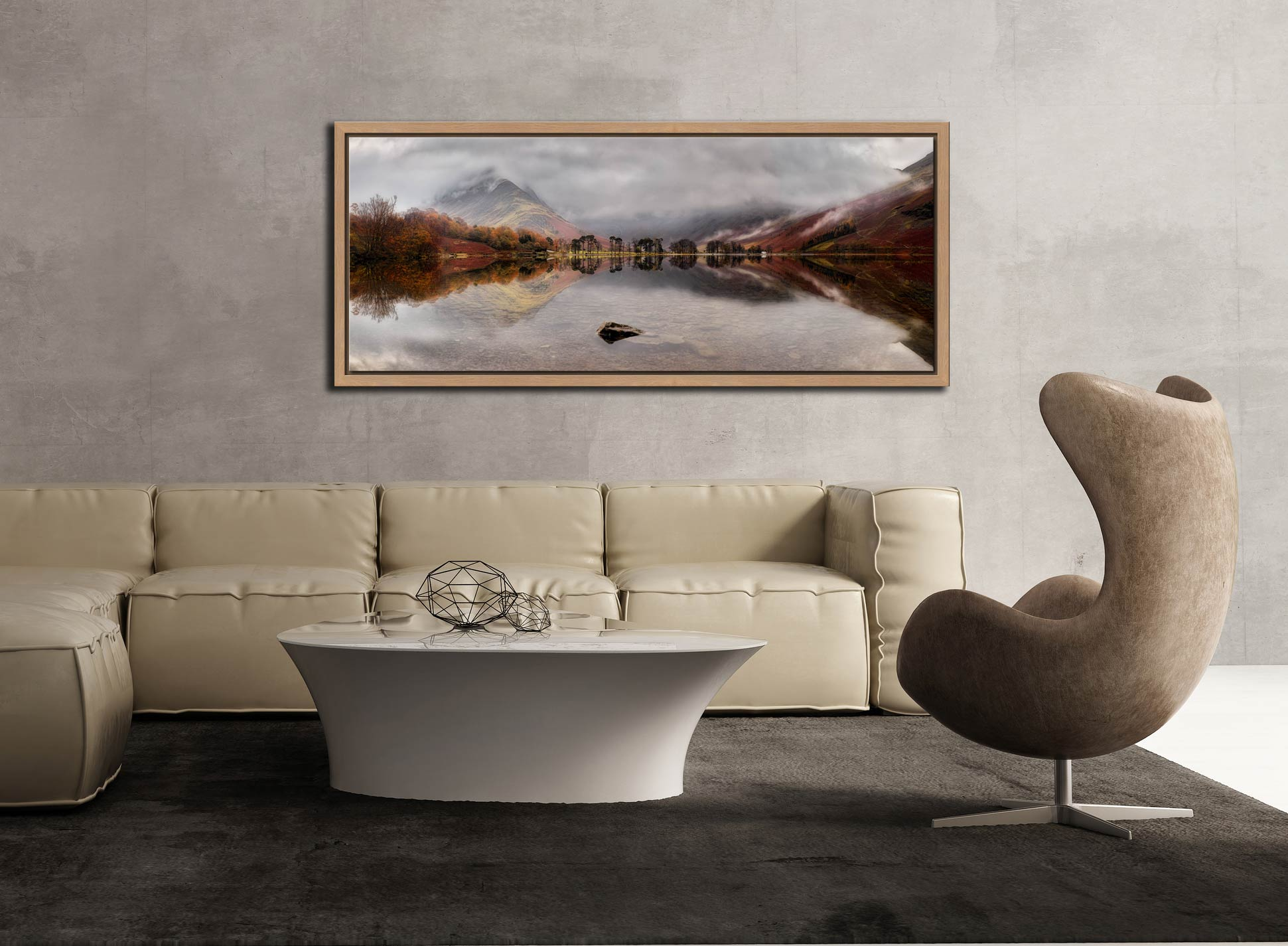 A moment of calm on a rainy day at Buttermere - Oak floater frame with acrylic glazing on Wall