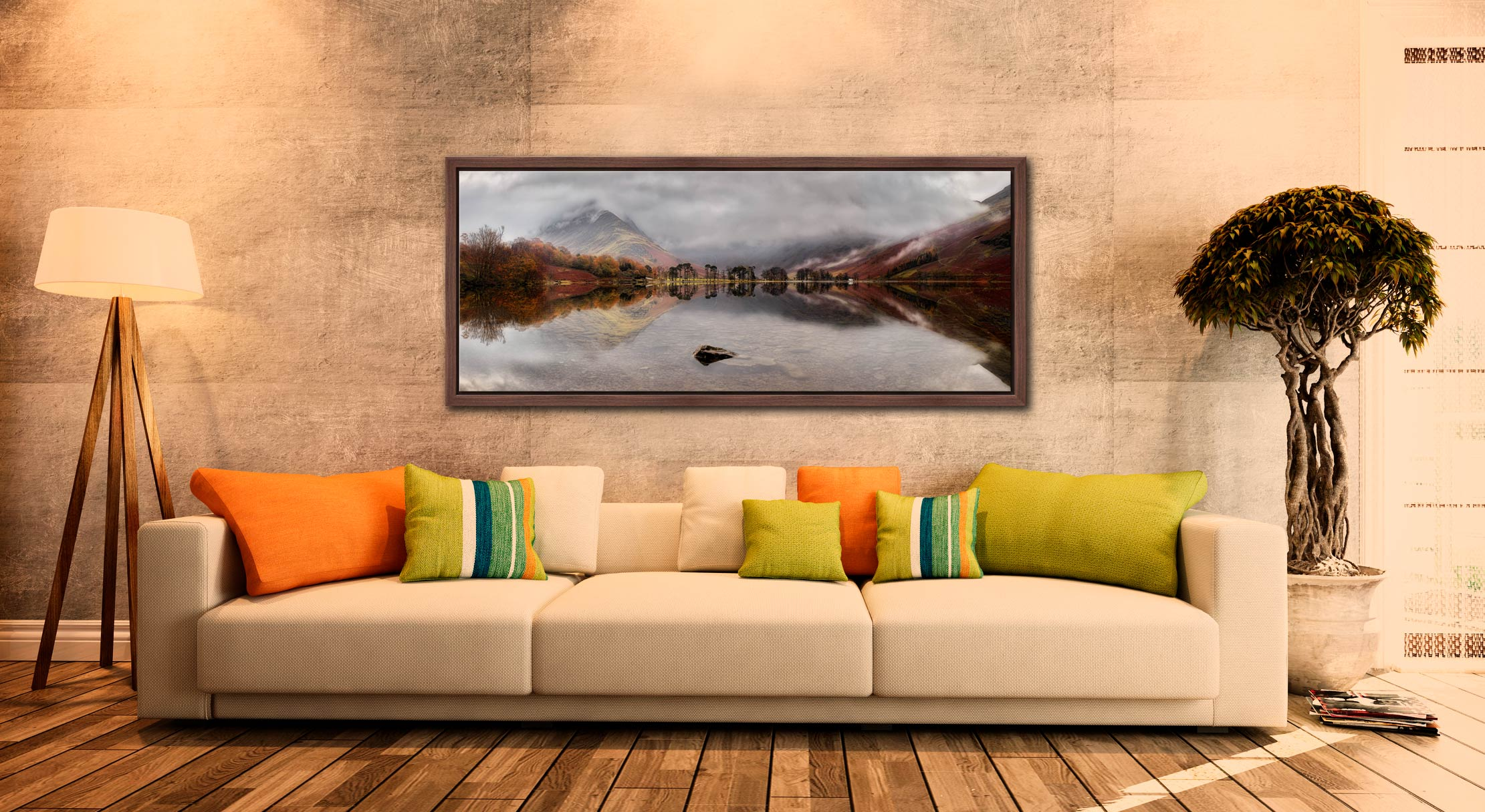 A moment of calm on a rainy day at Buttermere - Walnut floater frame with acrylic glazing on Wall