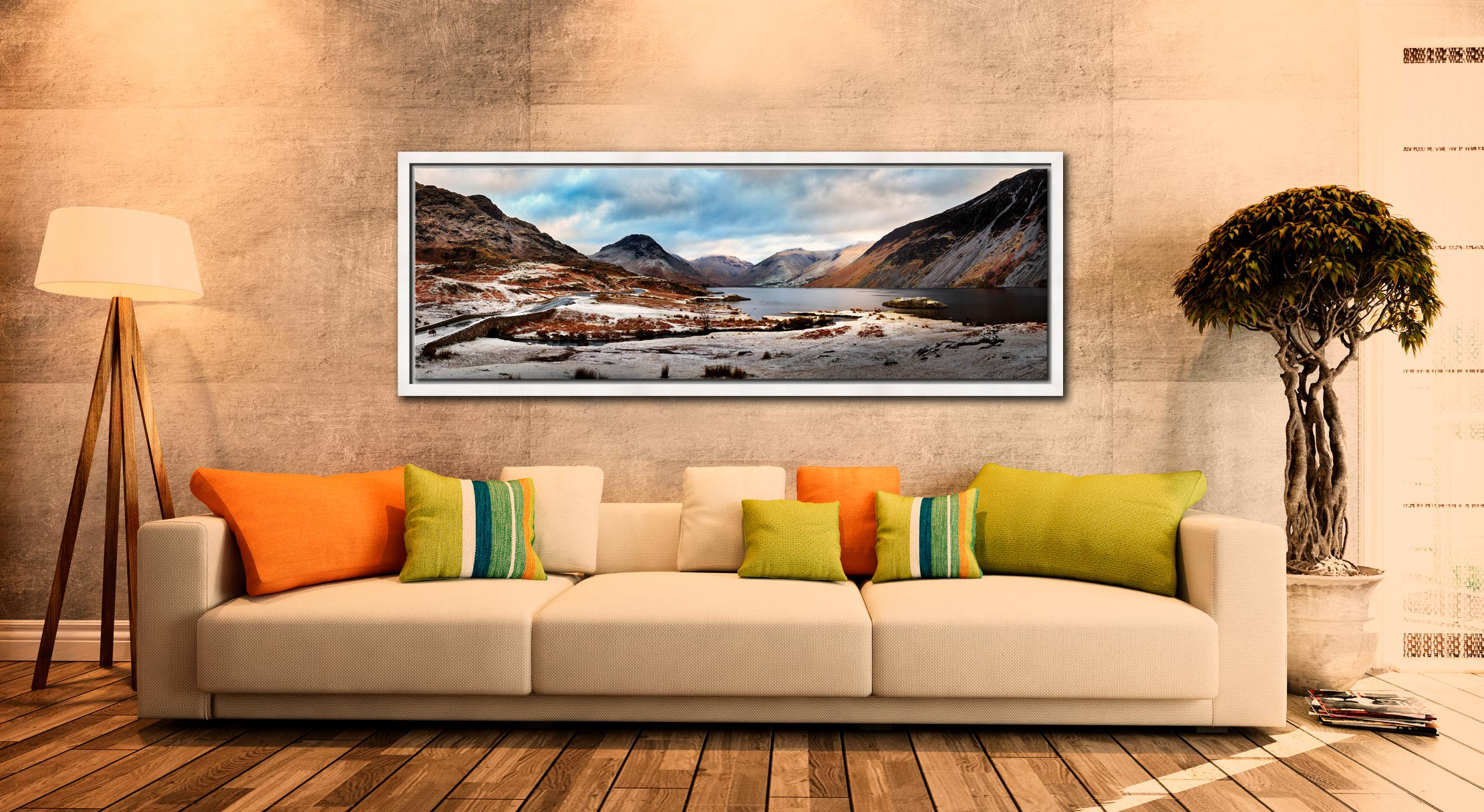 Snow on the fells around Wast Water in the Lake District - White Maple floater frame with acrylic glazing on Wall