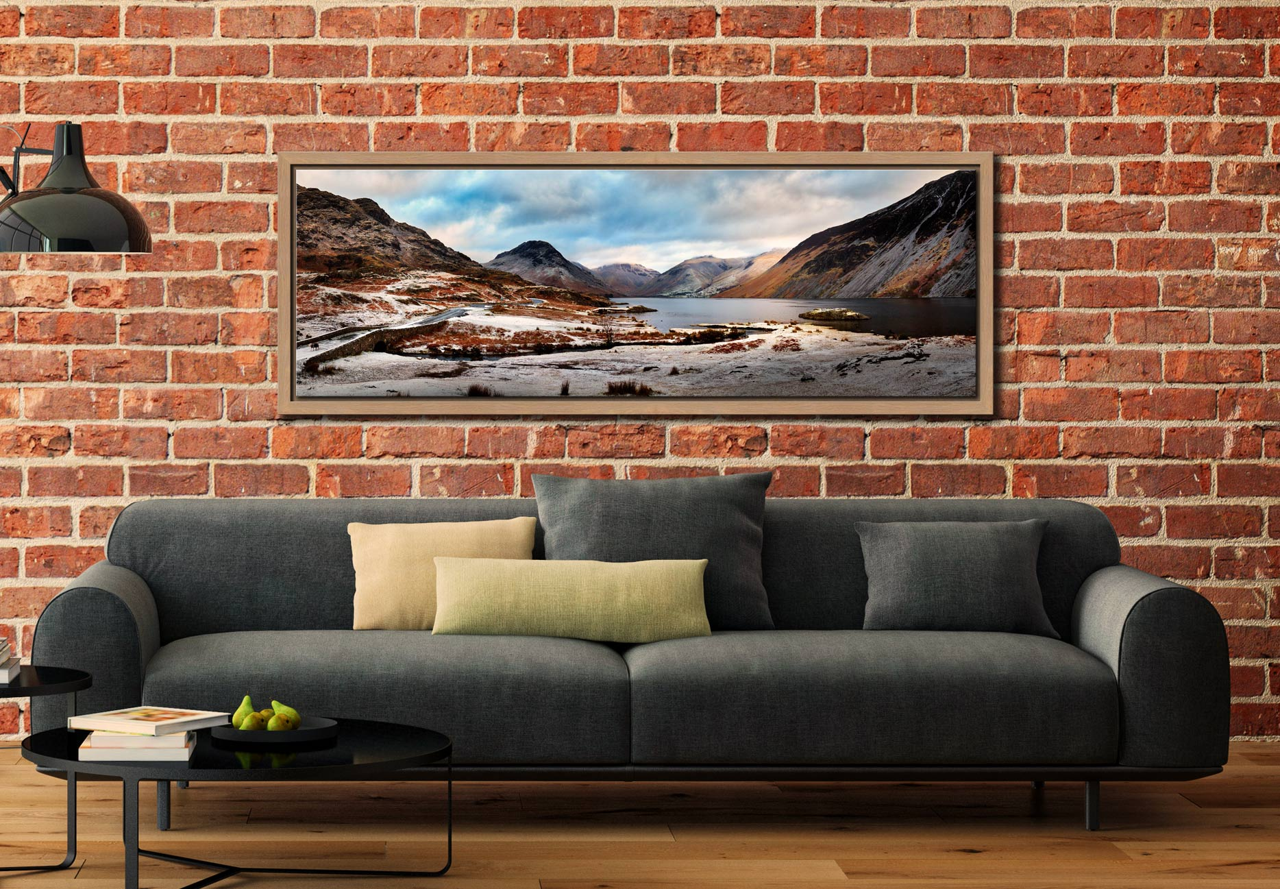 Snow on the fells around Wast Water in the Lake District - Oak floater frame with acrylic glazing on Wall