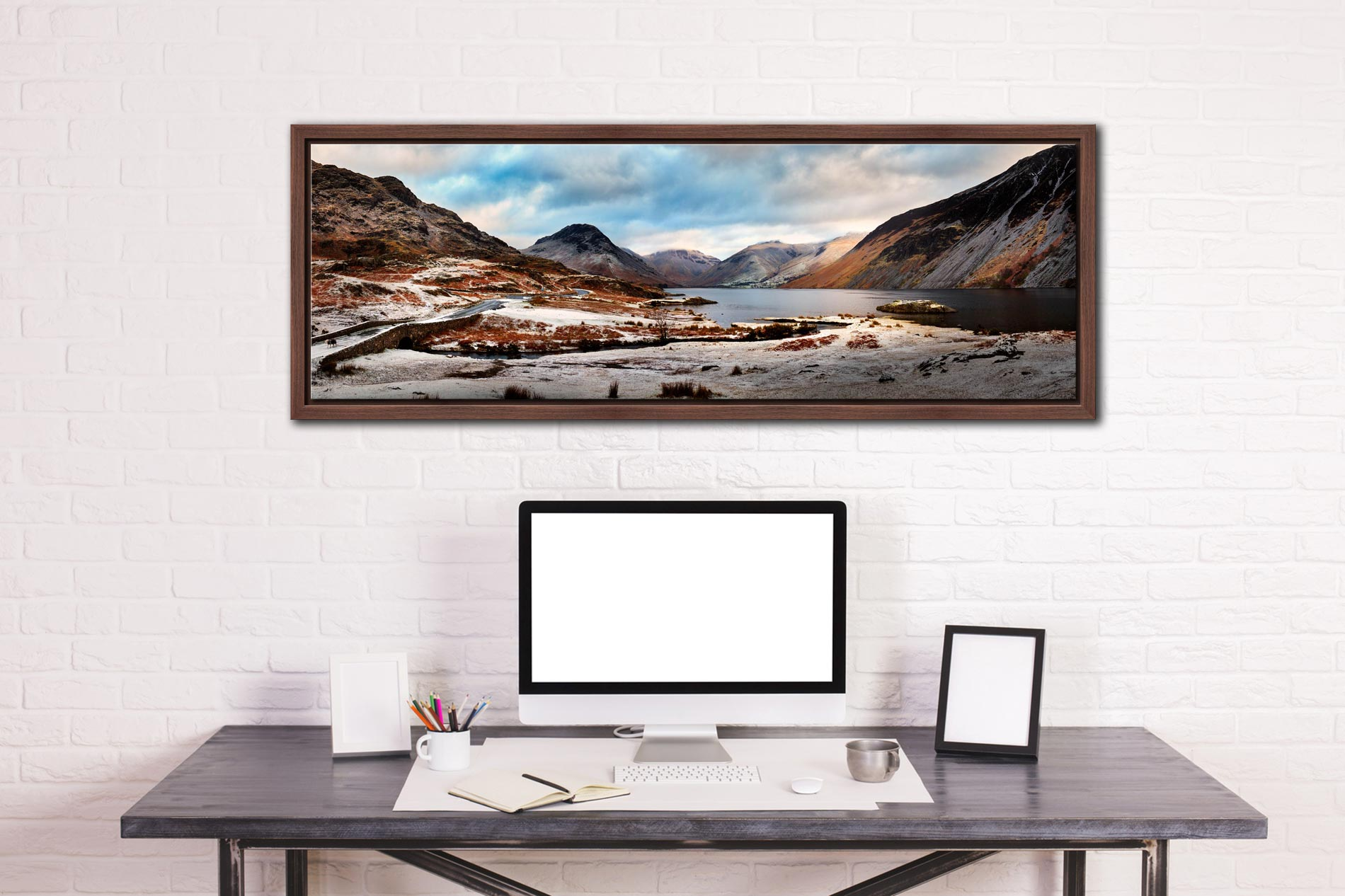 Snow on the fells around Wast Water in the Lake District - Walnut floater frame with acrylic glazing on Wall