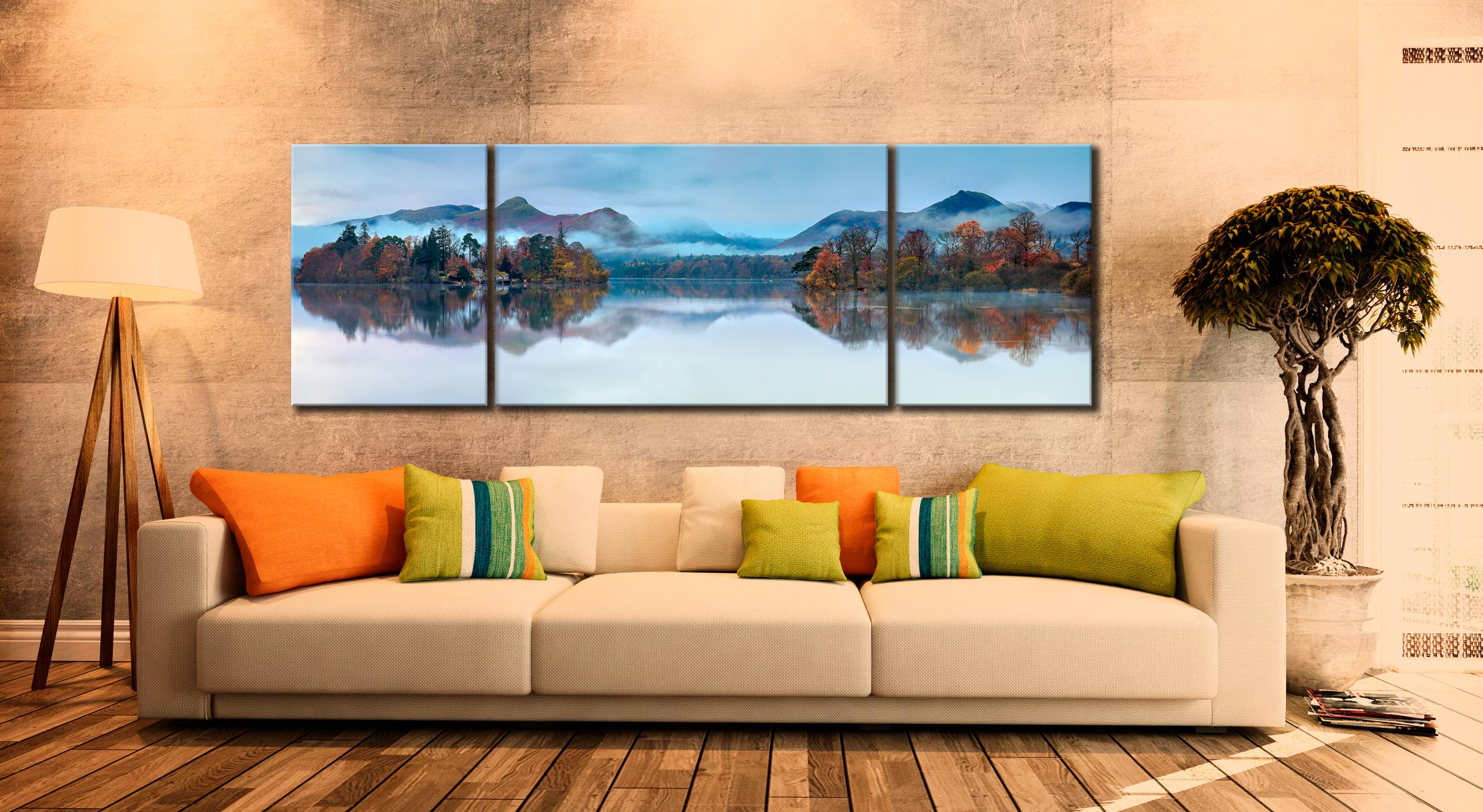 Derwent Isle Dawn Mists - 3 Panel Wide Mid Canvas on Wall