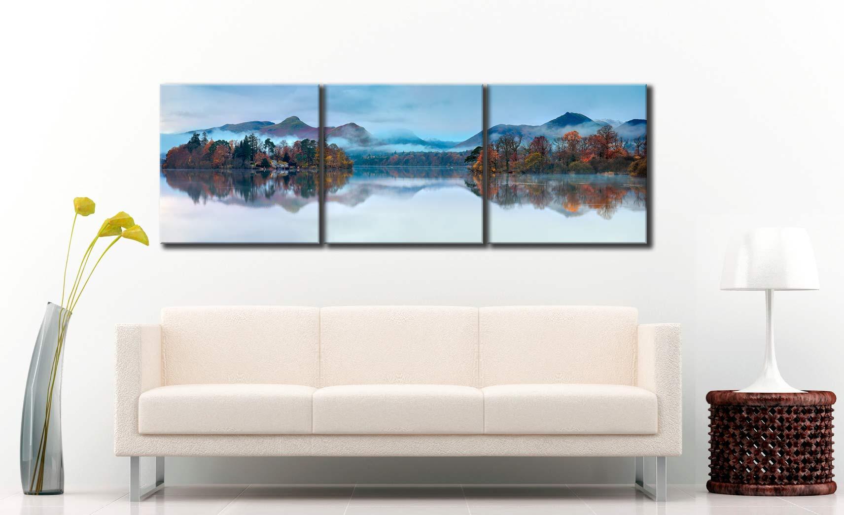 Derwent Isle Dawn Mists - 3 Panel Canvas on Wall