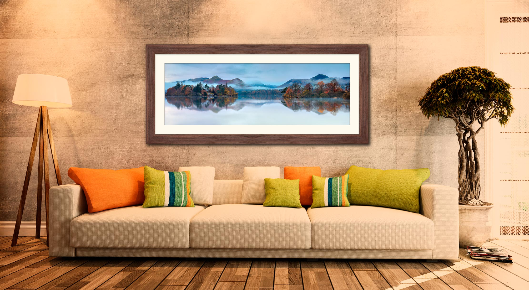 Derwent Isle Dawn Mists - Framed Print with Mount on Wall