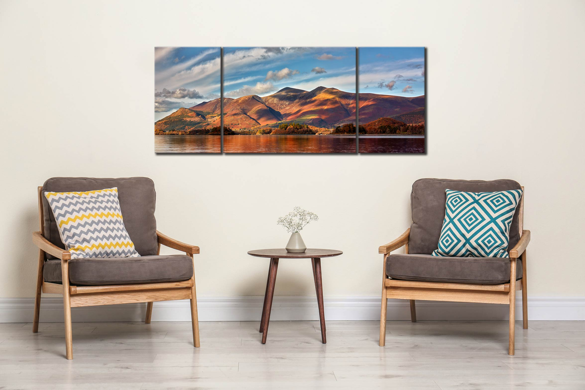 Skiddaw Sunshine - 3 Panel Wide Mid Canvas on Wall