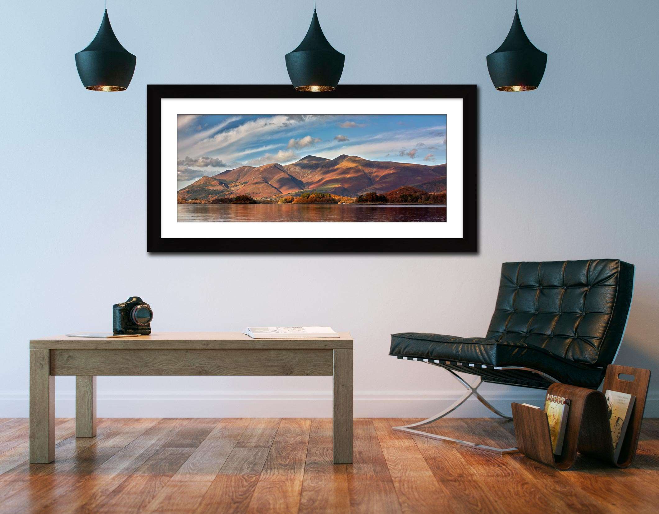 Skiddaw Sunshine - Framed Print with Mount on Wall