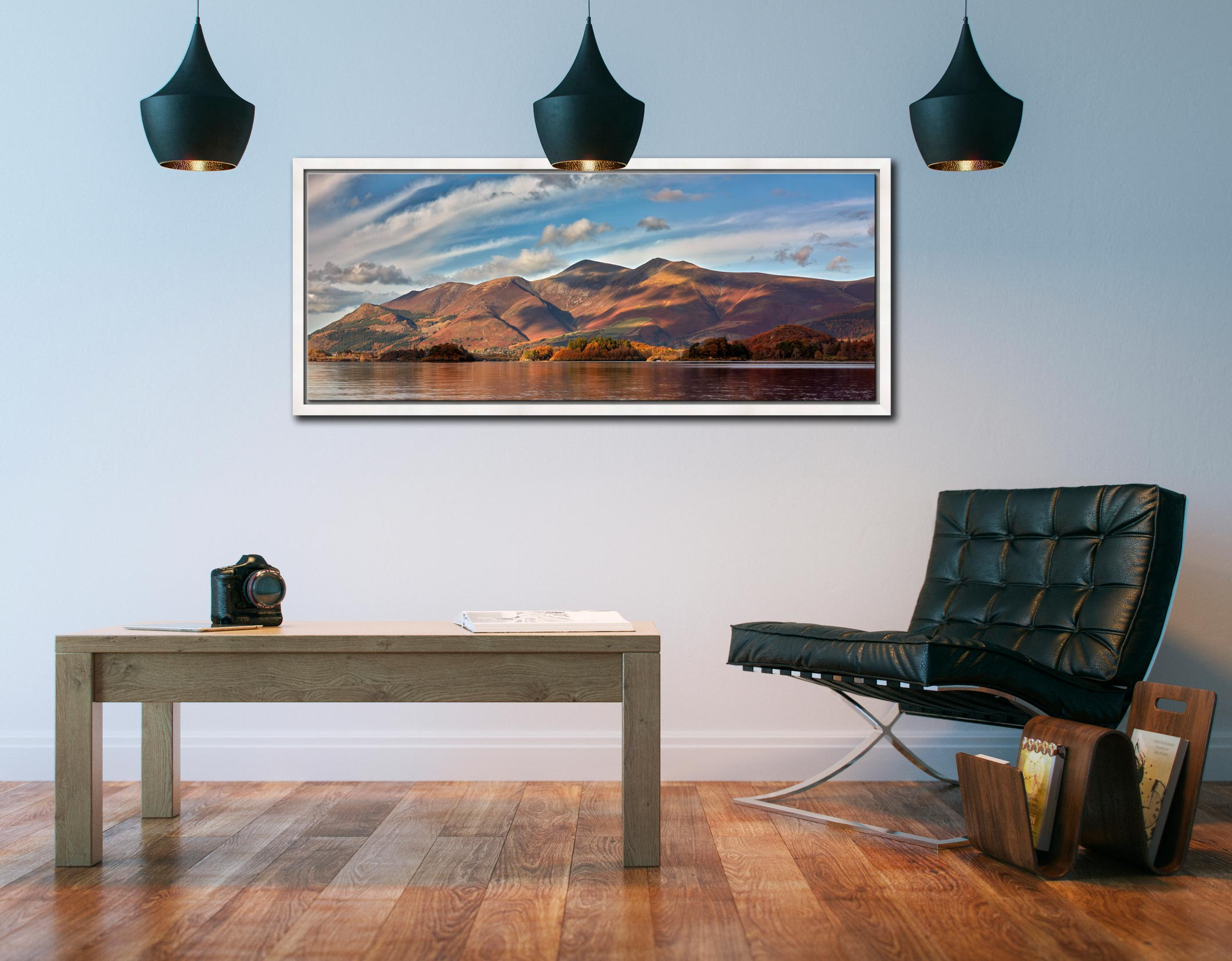Autumn sunshine on Skiddaw and Derwent Water - White Maple floater frame with acrylic glazing on Wall