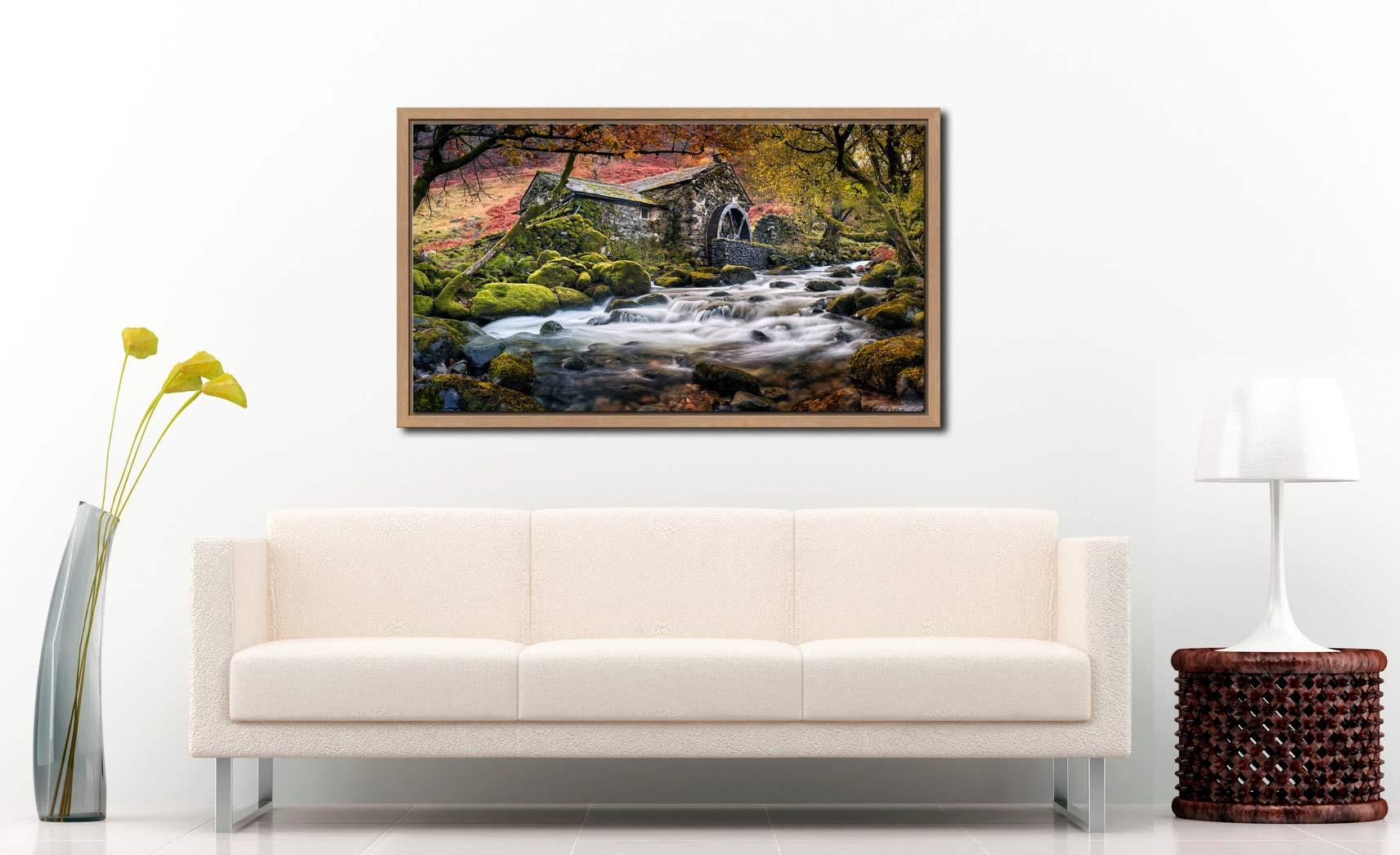 Borrowdale Mill - Oak floater frame with acrylic glazing on Wall