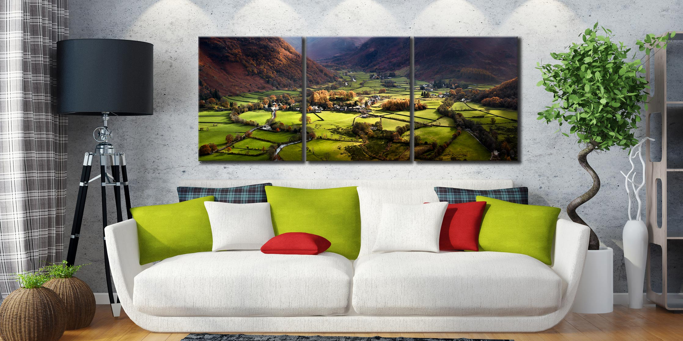 Autumn Colours of Borrowdale - 3 Panel Canvas on Wall